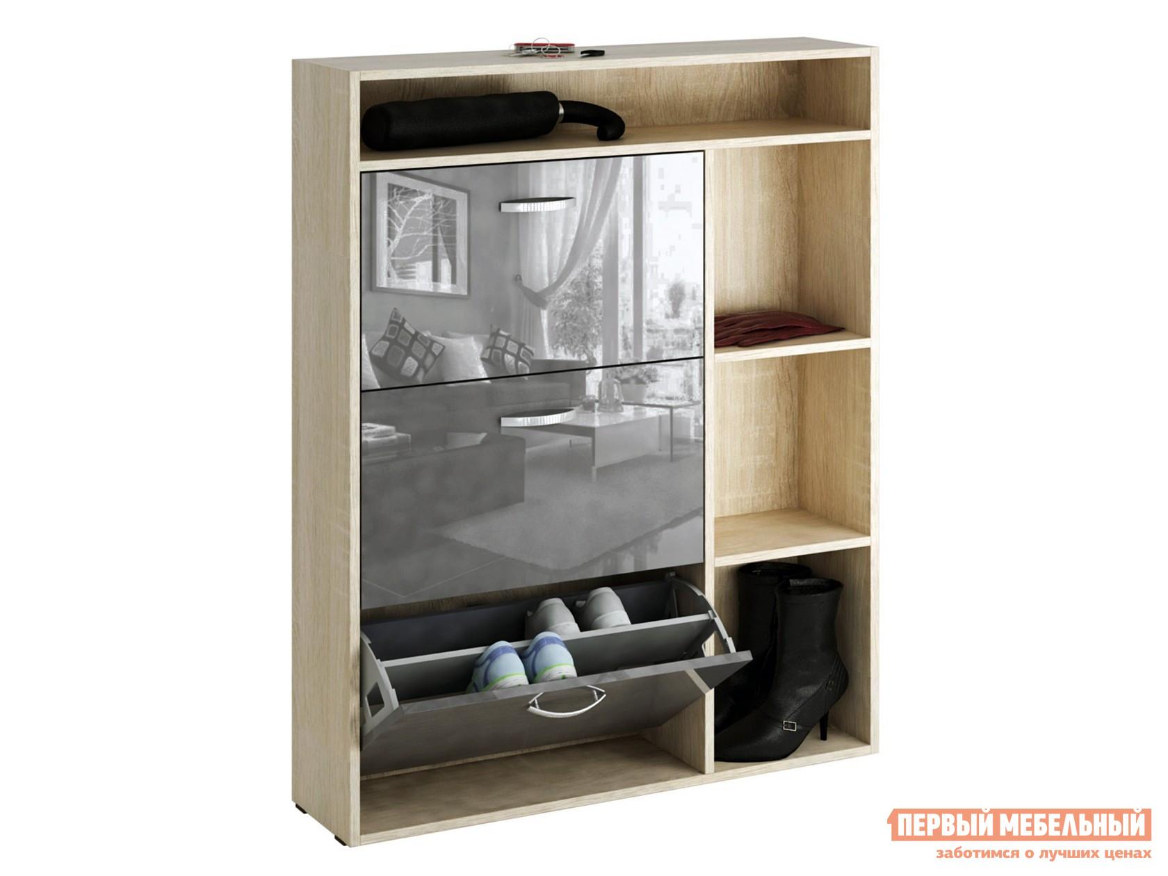 Обувница  Милан-22 Глянец МСТ-ОДМ-22 Серый глянец, Дуб Сонома