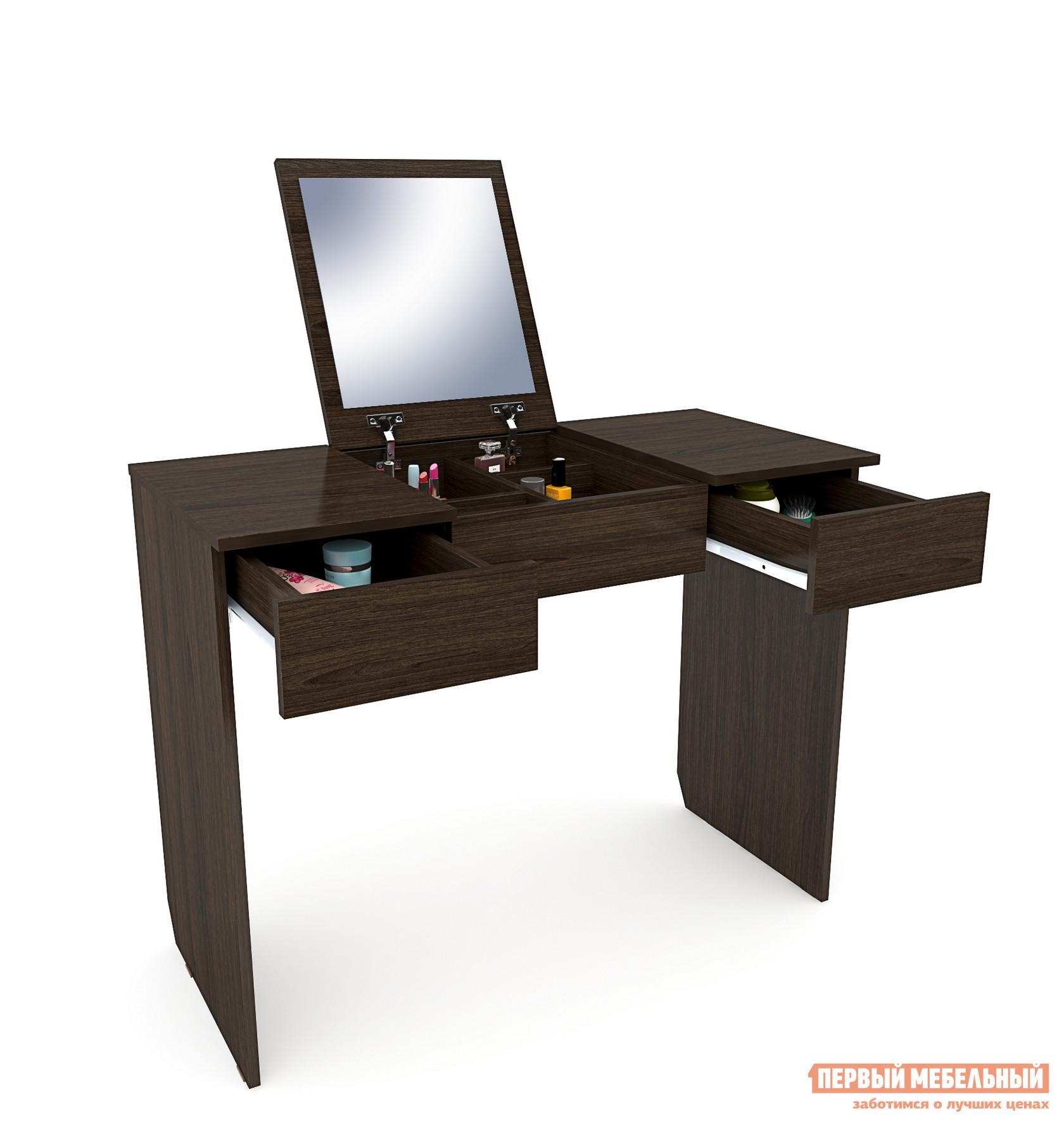 Туалетный столик МФ Мастер Риано-2 ВенгеТуалетные столики<br>Габаритные размеры ВхШхГ 780x1008x430 мм. Функциональная и очень удобная модель туалетного столика для ценителей качества и комфорта.  Модель оснащена откидным зеркалом, когда оно сложенно столик может использоваться как письменный или столик для ноутбука.  Такое компактное изделие особенно удобно для небольших помещений.  Столик оснащен двумя выдвижными ящиками для различных мелких принадлежностей.  Под откидной крышкой в центре стола находится зеркало и отдельные ниши для хранения.  Изделие выполнено из ЛДСП толщиной 16 мм, торцевые части обработаны кромкой ПВХ 0,4 мм.<br><br>Цвет: Венге<br>Высота мм: 780<br>Ширина мм: 1008<br>Глубина мм: 430<br>Кол-во упаковок: 1<br>Форма поставки: В разобранном виде<br>Срок гарантии: 2 года<br>Материал: Дерево<br>Материал: ЛДСП<br>Размер: Большие<br>С зеркалом: Да<br>С ящиками: Да<br>С одним зеркалом: Да
