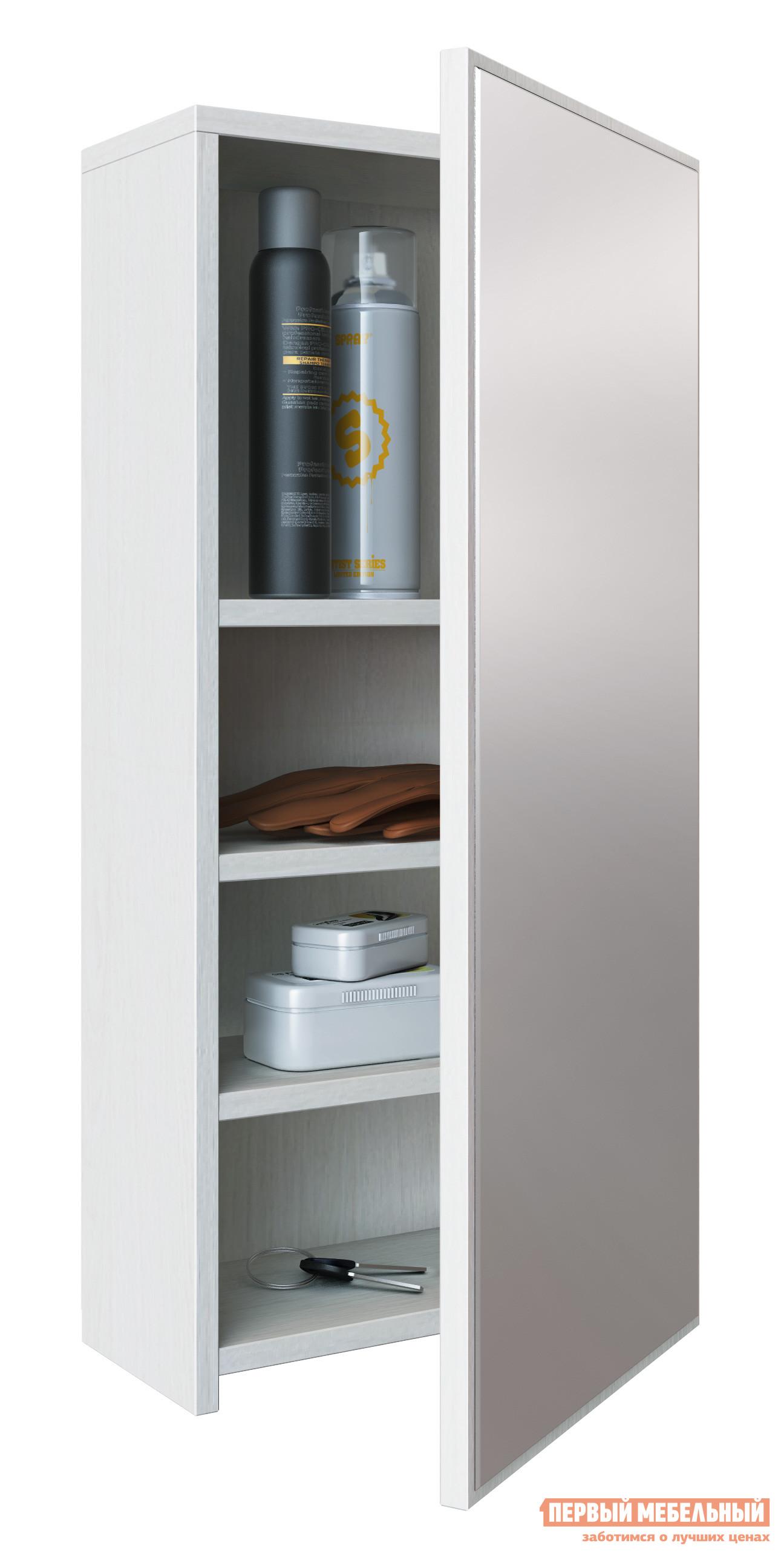 Шкаф настенный МФ Мастер Шкафчик Талио БелыйШкафы настенные<br>Габаритные размеры ВхШхГ 748x348x154 мм. Настенный шкафчик с зеркальной дверцей — удобный элемент для прихожей или гардеробной комнаты.  Внутри располагаются три разноуровневые полочки.  Отличный вариант для маленького помещения. Изготавливается из ЛДСП.<br><br>Цвет: Белый<br>Цвет: Светлое дерево<br>Высота мм: 748<br>Ширина мм: 348<br>Глубина мм: 154<br>Кол-во упаковок: 1<br>Форма поставки: В разобранном виде<br>Срок гарантии: 2 года