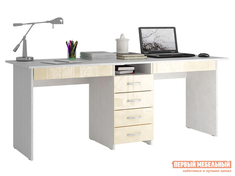 Письменный стол  МСТ-СДТ-2Я-ГЛ Тандем-2Я Глянец Бежевый глянец, Белый МФ Мастер 99073