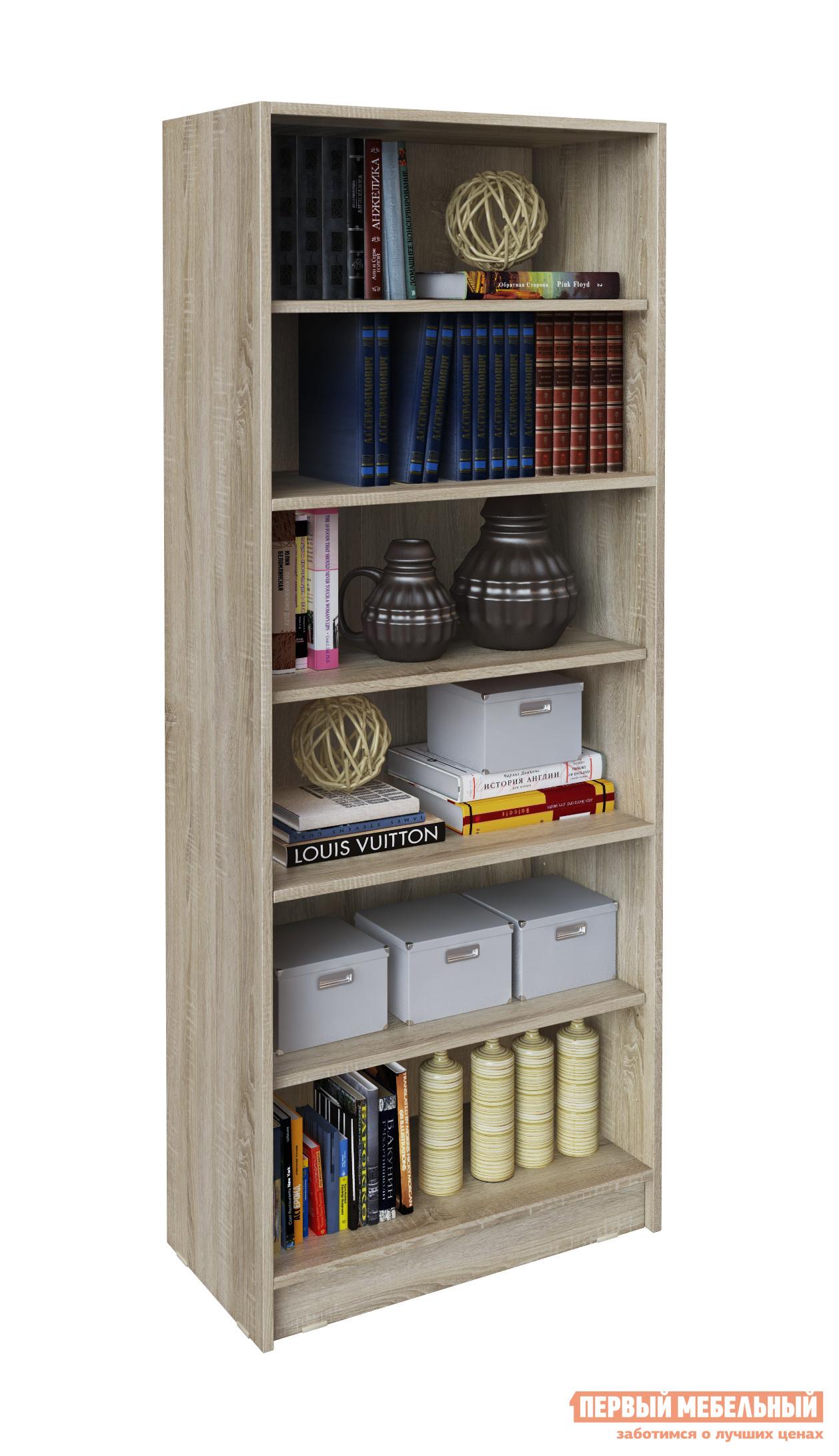 Стеллаж МФ Мастер Стелла-2 Дуб СономаСтеллажи для офиса<br>Габаритные размеры ВхШхГ 1632x650x328 мм. Многофункциональный открытый стеллаж — отличное решение для хранения книг, документов, посуды и прочих предметов.  Стеллаж имеет шесть открытых полок. Благодаря лаконичному дизайну, модель прекрасно впишется в любой интерьер. Изделие производится из ЛДСП, края обработаны кромкой ПВХ.  Задняя стенка — ЛХДФ в цвет корпуса.<br><br>Цвет: Дуб Сонома<br>Цвет: Светлое дерево<br>Высота мм: 1632<br>Ширина мм: 650<br>Глубина мм: 328<br>Форма поставки: В разобранном виде<br>Срок гарантии: 2 года<br>Тип: Открытые<br>Материал: Деревянные, из ЛДСП<br>Размер: Узкие<br>Особенности: Дешевые
