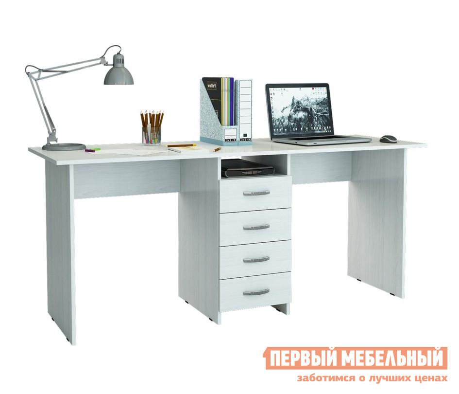 Компьютерный стол МФ Мастер Тандем-2 БелыйКомпьютерные столы<br>Габаритные размеры ВхШхГ 750x1748x600 мм. Компьютерный стол с двумя рабочими поверхностями — отличное решение для организации удобного рабочего места для двух человек. Такая модель обязательно понравится родителям для создания уютного детского уголка для учебы и творчества. По центру стола располагается тумба с четырьмя выдвижными ящиками и открытой нишей для хранения документов, тетрадей, канцелярских принадлежностей. Лаконичный стиль исполнения, а также разнообразие цветовых решений, позволит подобрать стол под любой интерьер. Изделие производится из ЛДСП, края обработаны кромкой ПВХ. Обратите внимание! Задняя стенка тумбы выполнена из ДВП (не в цвет стола).  Такой стол рекомендуется ставить к стене.<br><br>Цвет: Белый<br>Цвет: Белый<br>Цвет: Светлое дерево<br>Высота мм: 750<br>Ширина мм: 1748<br>Глубина мм: 600<br>Кол-во упаковок: 2<br>Форма поставки: В разобранном виде<br>Срок гарантии: 2 года<br>Тип: Прямые, Для двоих<br>Материал: Деревянные, из ЛДСП<br>Размер: Большие<br>Особенности: Без надстройки, С тумбой<br>Стиль: Современный, Модерн