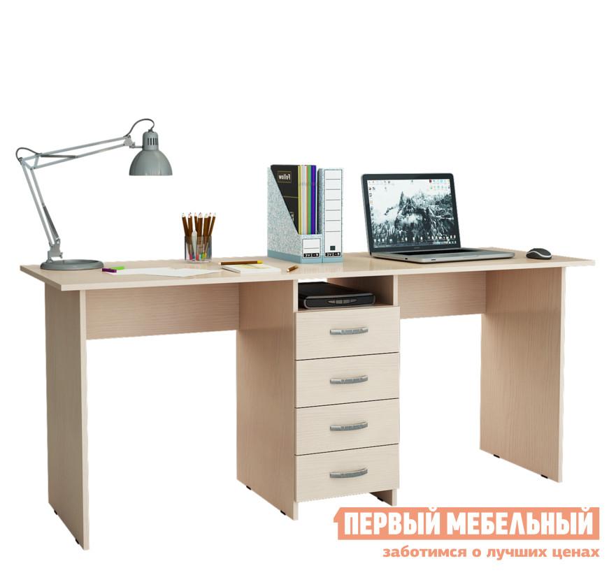 Компьютерный стол МФ Мастер Тандем-2 Дуб молочныйКомпьютерные столы<br>Габаритные размеры ВхШхГ 750x1748x600 мм. Компьютерный стол с двумя рабочими поверхностями — отличное решение для организации удобного рабочего места для двух человек. Такая модель обязательно понравится родителям для создания уютного детского уголка для учебы и творчества. По центру стола располагается тумба с четырьмя выдвижными ящиками и открытой нишей для хранения документов, тетрадей, канцелярских принадлежностей. Лаконичный стиль исполнения, а также разнообразие цветовых решений, позволит подобрать стол под любой интерьер. Изделие производится из ЛДСП, края обработаны кромкой ПВХ. Обратите внимание! Задняя стенка тумбы выполнена из ДВП (не в цвет стола).  Такой стол рекомендуется ставить к стене.<br><br>Цвет: Дуб молочный<br>Цвет: Светлое дерево<br>Высота мм: 750<br>Ширина мм: 1748<br>Глубина мм: 600<br>Кол-во упаковок: 2<br>Форма поставки: В разобранном виде<br>Срок гарантии: 2 года<br>Тип: Прямые, Для двоих<br>Материал: Деревянные, из ЛДСП<br>Размер: Большие<br>Особенности: Без надстройки, С тумбой<br>Стиль: Современный, Модерн
