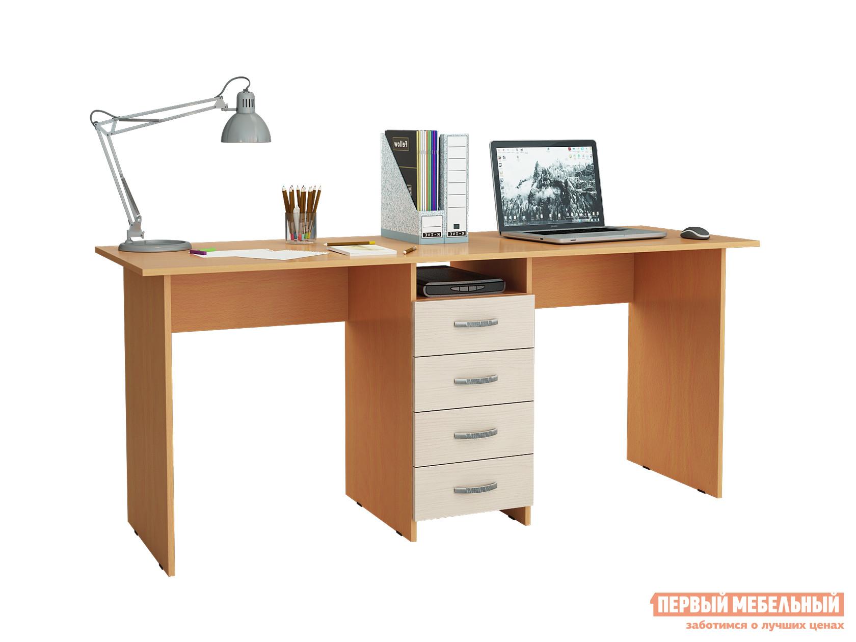 Компьютерный стол МФ Мастер Тандем-2 Бук / Дуб молочный