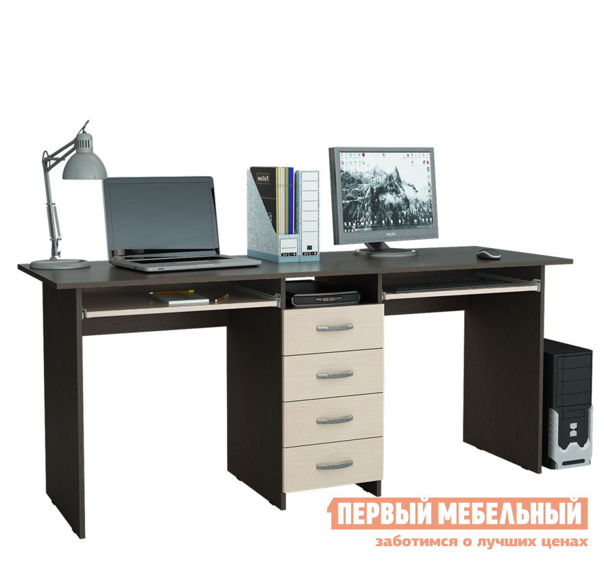 Компьютерный стол МФ Мастер Тандем-2П Венге / Дуб МолочныйКомпьютерные столы<br>Габаритные размеры ВхШхГ 750x1748x600 мм. Удобный компьютерный стол с двумя рабочими поверхностями — отличное решение для организации комфортного рабочего места для двух человек. Такая модель обязательно понравится родителям для создания удобного детского уголка для учебы и творчества. По центру стола располагается тумба с четырьмя выдвижными ящиками и открытой нишей для хранения документов, тетрадей, канцелярских принадлежностей. Под столешницами есть выдвижные полки для клавиатур. Лаконичный стиль исполнения, а также разнообразие цветовых решений, позволит подобрать стол под любой интерьер. Изделие производится из ЛДСП, края обработаны кромкой ПВХ. Обратите внимание! Задняя стенка тумбы выполнена из ДВП (не в цвет стола).  Такой стол рекомендуется ставить к стене.<br><br>Цвет: Венге / Дуб Молочный<br>Цвет: Темное-cветлое дерево<br>Высота мм: 750<br>Ширина мм: 1748<br>Глубина мм: 600<br>Кол-во упаковок: 2<br>Форма поставки: В разобранном виде<br>Срок гарантии: 2 года<br>Тип: Прямые, Для двоих<br>Материал: Деревянные, из ЛДСП<br>Размер: Большие<br>Особенности: С ящиками, Без надстройки, С тумбой, С полками<br>Стиль: Современный, Модерн