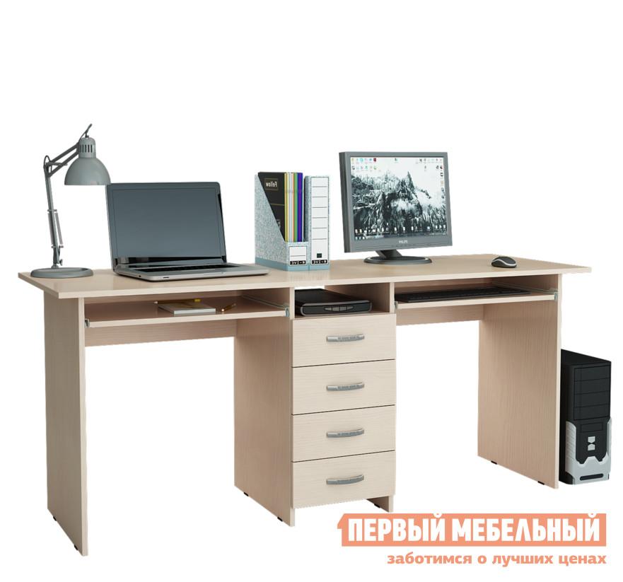 Компьютерный стол МФ Мастер Тандем-2П Дуб молочный