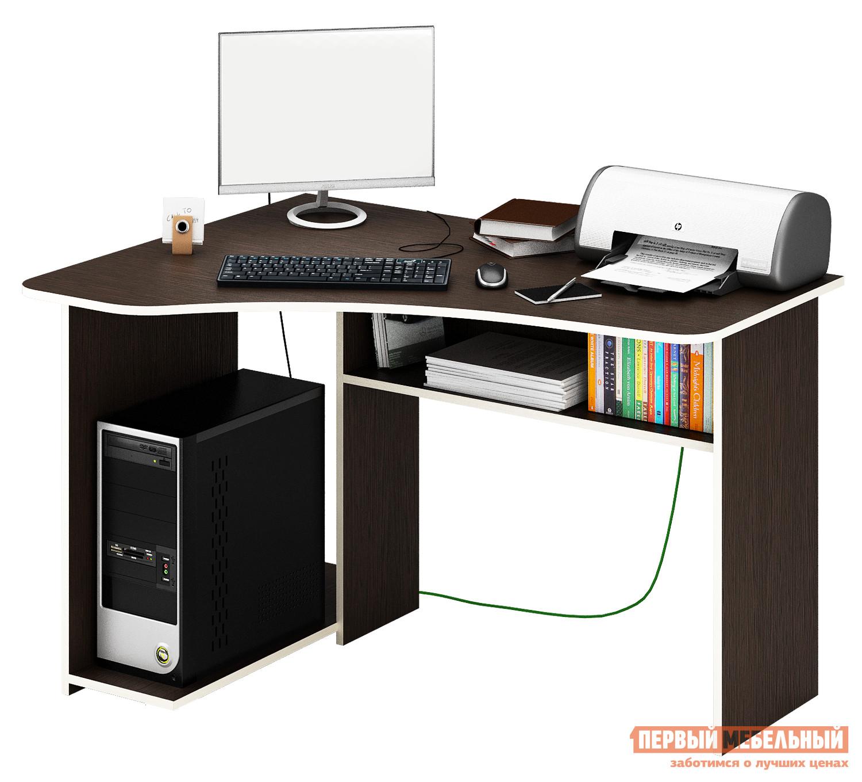 Компьютерный стол МФ Мастер Триан-1 Венге, ЛевыйКомпьютерные столы<br>Габаритные размеры ВхШхГ 750x1200x900 мм. Эргономичный, небольшой стол идеально подойдет для организации рабочего места даже в небольшом интерьере. Угловая форма стола позволяет максимально полезно задействовать площадь.  Конструкцией предусмотрена ниша для системного блока компьютера, а также вместительная полка для бумаг и книг под столешницей. Материал изготовления — ЛДСП толщиной 16 мм с кромкой ПВХ 2 мм. Обратите внимание, перед заказом необходимо выбрать ориентацию стола.<br><br>Цвет: Венге<br>Высота мм: 750<br>Ширина мм: 1200<br>Глубина мм: 900<br>Кол-во упаковок: 2<br>Форма поставки: В разобранном виде<br>Срок гарантии: 2 года<br>Тип: Угловые<br>Материал: Дерево<br>Материал: ЛДСП<br>Размер: Маленькие<br>Размер: Ширина 120 см<br>Без надстройки: Да<br>С полками: Да