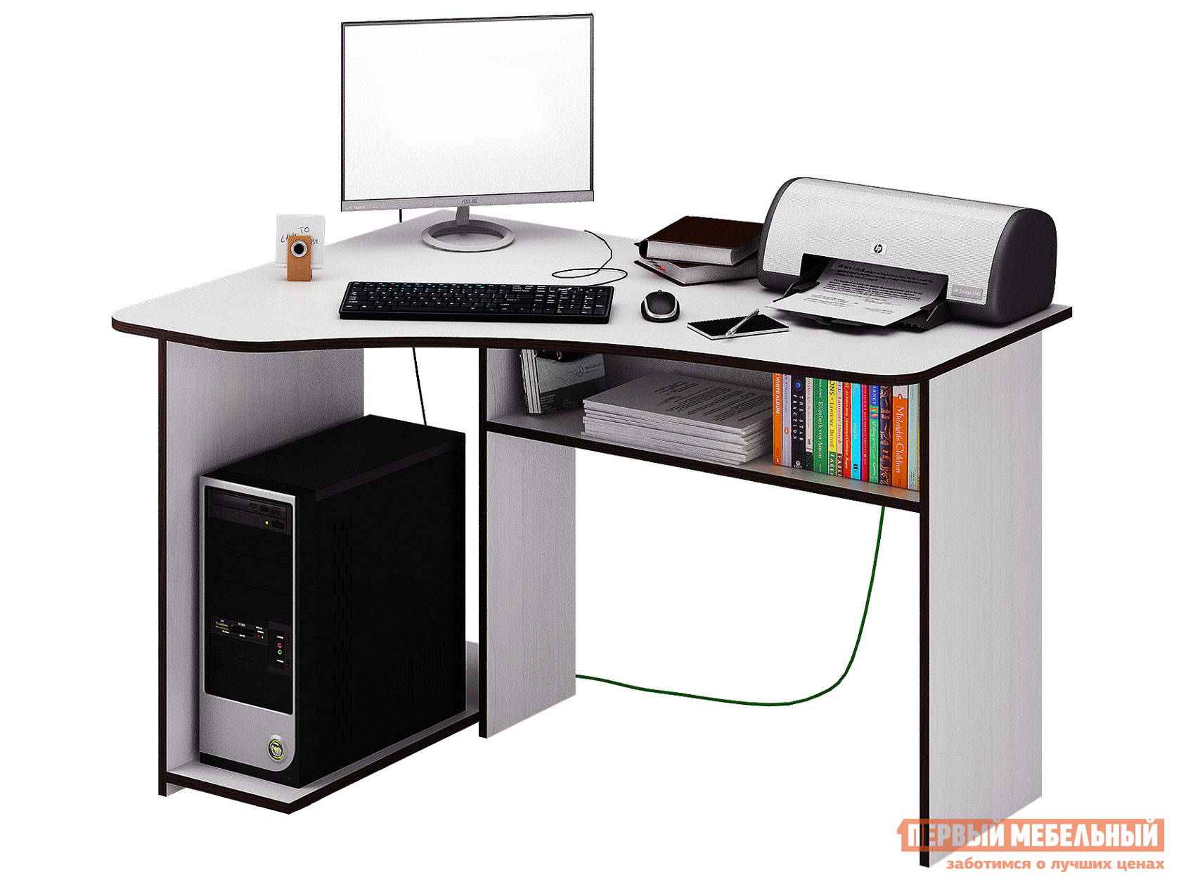 Угловой компьютерный стол с полками МФ Мастер Триан-1