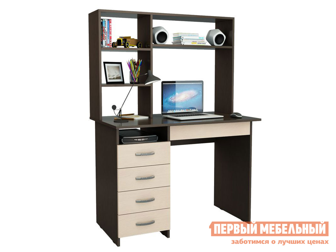 Компьютерный стол  Милан-1 с надстройкой Венге / Дуб Молочный
