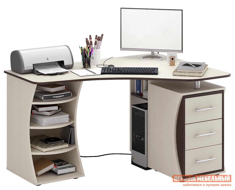 Компьютерный стол МФ Мастер Триан-43 Дуб Молочный / Венге