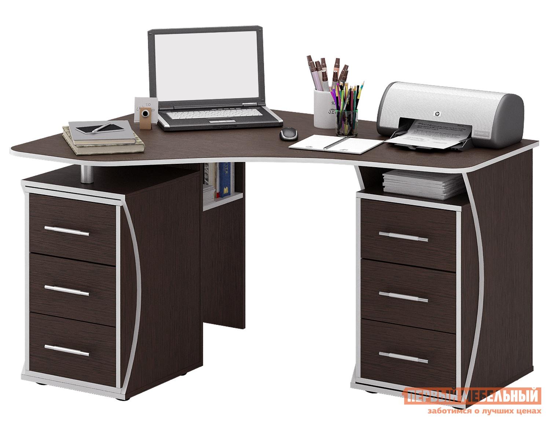 Компьютерный стол МФ Мастер Триан-41 Венге, ЛевыйКомпьютерные столы<br>Габаритные размеры ВхШхГ 750x1350x1000 мм. Неординарный и смелый по дизайну стол прекрасно организует рабочее место даже в небольшом интерьере. Угловая форма стола позволяет максимально полезно задействовать площадь.  Конструкцией предусмотрены две удобные тумбы с тремя выдвижными ящиками, а также открытые полки для бумаг под столешницей и ниша для системного блока компьютера. Материал изготовления — ЛДСП толщиной 16 мм с кромкой ПВХ 2 мм. Обратите внимание, перед заказом необходимо выбрать ориентацию стола. В разных ориентациях некоторые габаритные размеры различаются.  Подробнее с размерами вы можете ознакомиться на схемах.<br><br>Цвет: Венге<br>Высота мм: 750<br>Ширина мм: 1350<br>Глубина мм: 1000<br>Кол-во упаковок: 3<br>Форма поставки: В разобранном виде<br>Срок гарантии: 2 года<br>Тип: Угловые<br>Материал: Дерево<br>Материал: ЛДСП<br>Размер: Большие<br>С ящиками: Да<br>Без надстройки: Да<br>С тумбой: Да<br>С полками: Да<br>Стиль: Современный<br>Стиль: Модерн