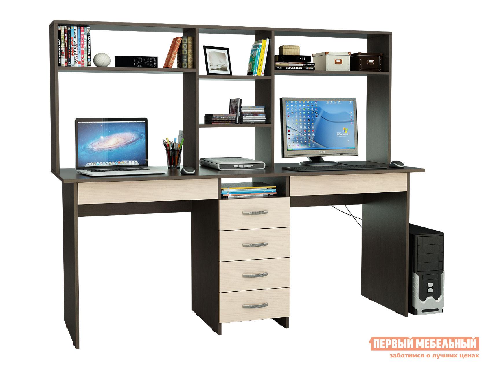 Компьютерный стол МФ Мастер Стол для двоих Тандем-2Я (0120) + Надстройка Тандем-2