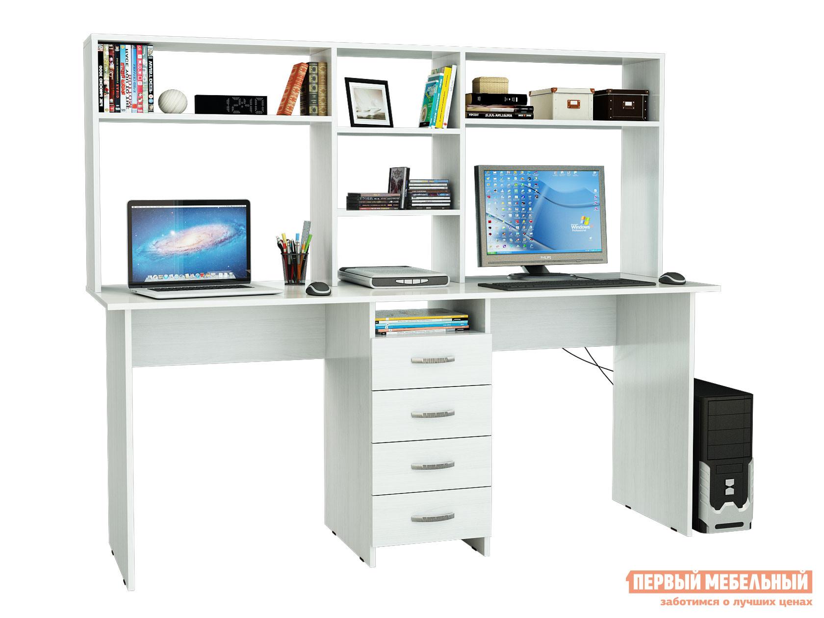 Компьютерный стол МФ Мастер Стол для двоих Тандем-2 (0120) + Надстройка Тандем-2