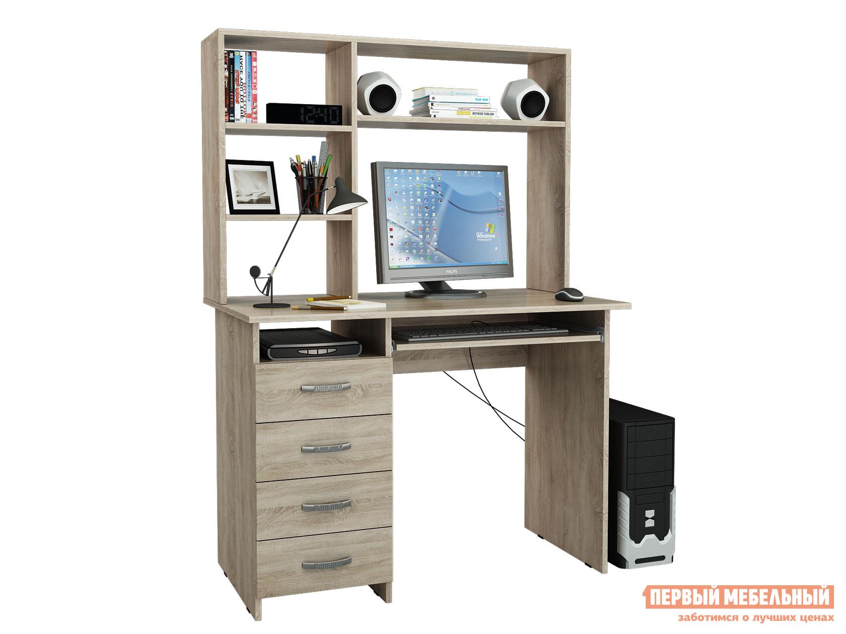 Компьютерный стол  Милан-3 с надстройкой Дуб Сонома