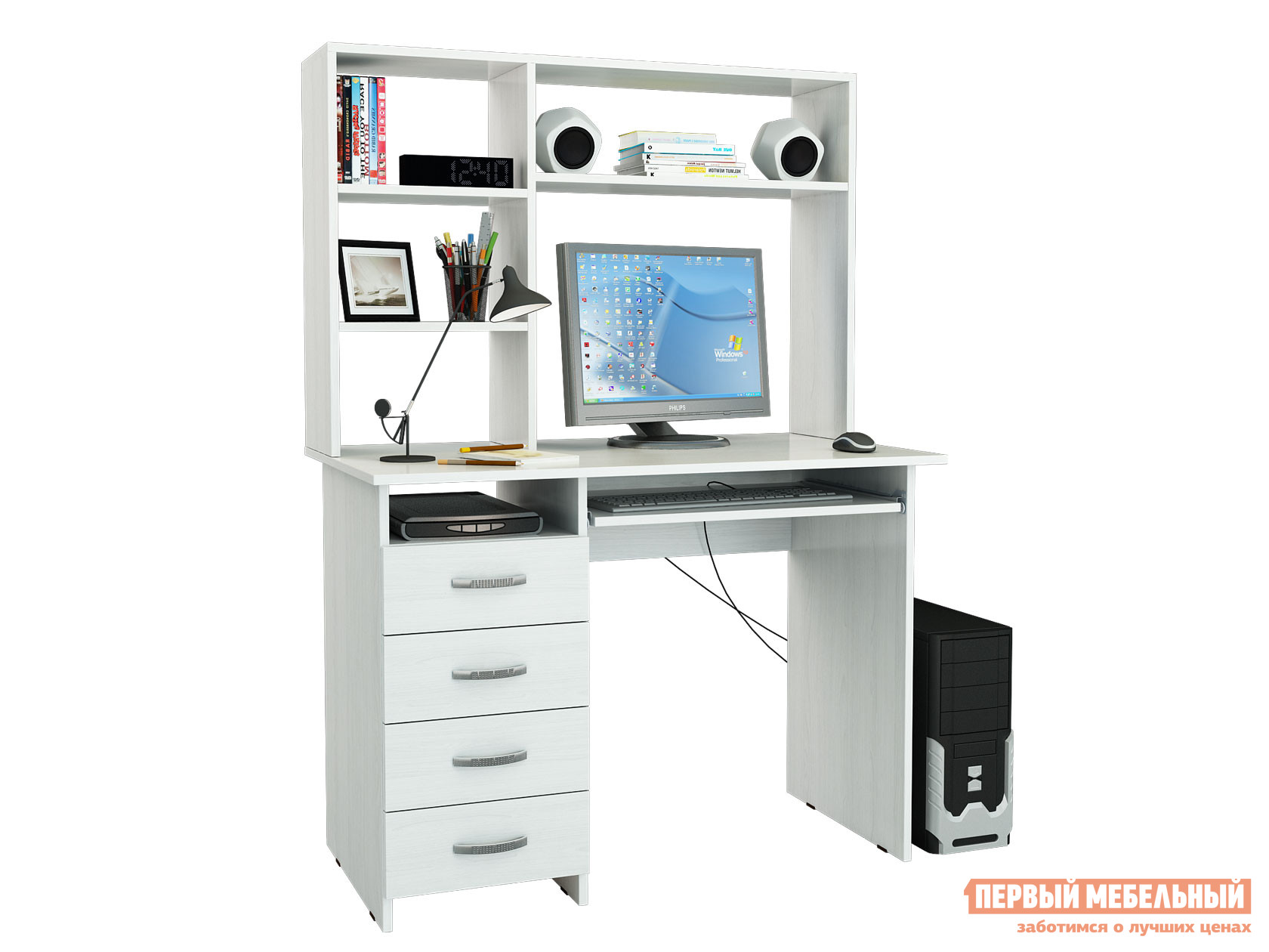 Компьютерный стол МФ Мастер Милан-3 с надстройкой