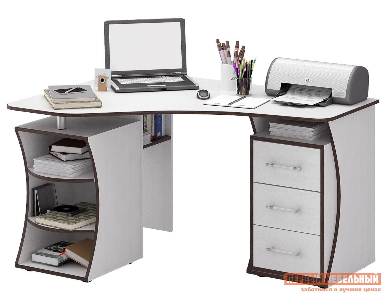 Компьютерный стол МФ Мастер Триан-42 Белый, ЛевыйКомпьютерные столы<br>Габаритные размеры ВхШхГ 750x1350x1000 мм. Смелый по оформлению стол прекрасно организует рабочее место даже в небольшом интерьере. Угловая форма стола позволяет максимально полезно задействовать площадь.  Конструкцией предусмотрена тумба с выдвижными ящиками, множество полок для бумаг и канцелярских принадлежностей, а также ниша для системного блока компьютера. Материал изготовления — ЛДСП толщиной 16 мм с кромкой ПВХ 2 мм. Обратите внимание, перед заказом необходимо выбрать ориентацию стола. В разных ориентациях некоторые габаритные размеры различаются.  Подробнее с размерами вы можете ознакомиться на схемах.<br><br>Цвет: Белый<br>Цвет: Белый<br>Цвет: Светлое дерево<br>Высота мм: 750<br>Ширина мм: 1350<br>Глубина мм: 1000<br>Кол-во упаковок: 3<br>Форма поставки: В разобранном виде<br>Срок гарантии: 2 года<br>Тип: Угловые<br>Материал: Деревянные, из ЛДСП<br>Размер: Большие<br>Особенности: С ящиками, Без надстройки, С тумбой, С полками<br>Стиль: Современный, Модерн