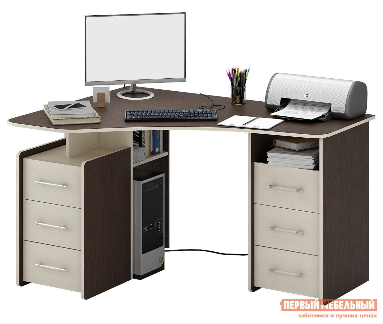 Угловой компьютерный стол с полками и ящиками МФ Мастер Триан-6