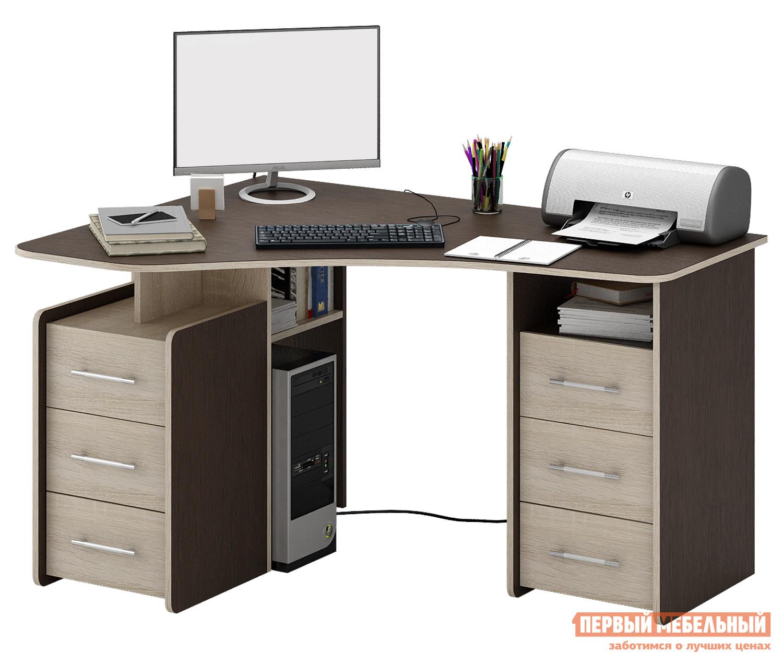 Компьютерный стол МФ Мастер Триан-6 Венге / Дуб СономаКомпьютерные столы<br>Габаритные размеры ВхШхГ 750x1350x1000 мм. Эргономичный стол прекрасно организует рабочее место даже в небольшом интерьере. Угловая форма стола позволяет максимально полезно задействовать площадь.  Конструкцией предусмотрены две удобные тумбы с тремя выдвижными ящиками, а также вместительные полки для бумаг и книг под столешницей и ниша для системного блока компьютера. Материал изготовления — ЛДСП толщиной 16 мм с кромкой ПВХ 2 мм.<br><br>Цвет: Венге / Дуб Сонома<br>Цвет: Темное-cветлое дерево<br>Высота мм: 750<br>Ширина мм: 1350<br>Глубина мм: 1000<br>Кол-во упаковок: 3<br>Форма поставки: В разобранном виде<br>Срок гарантии: 2 года<br>Тип: Угловые<br>Материал: Деревянные, из ЛДСП<br>Размер: Большие<br>Особенности: С ящиками, Без надстройки, С тумбой, С полками<br>Стиль: Современный, Модерн