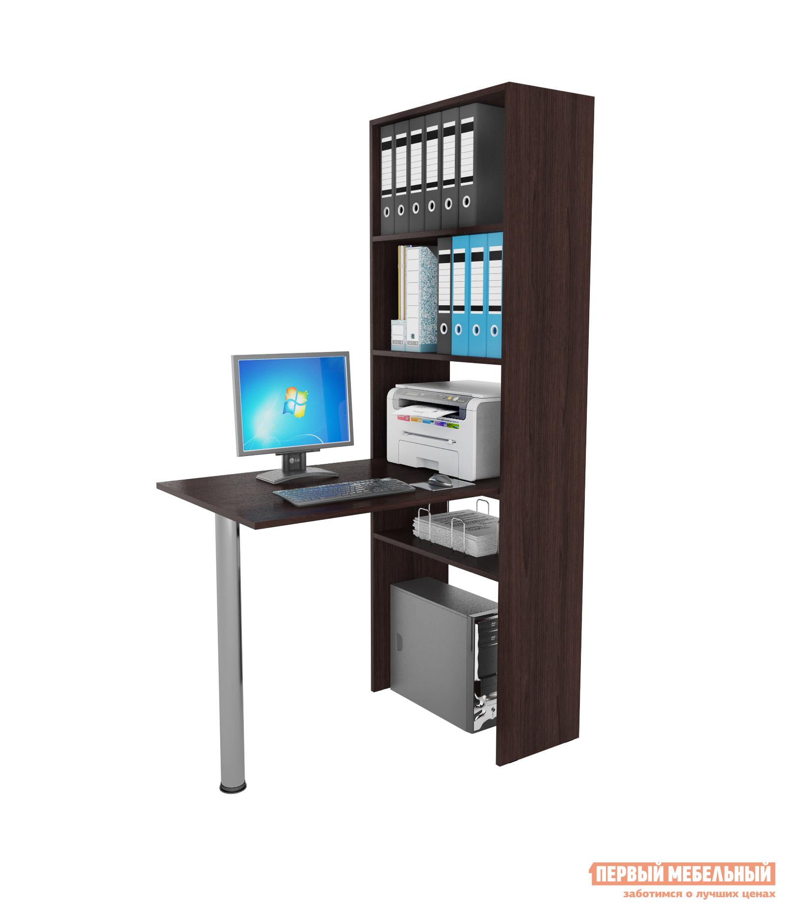 Компьютерный стол МФ Мастер Рикс-4 + Рикс-6 ВенгеКомпьютерные столы<br>Габаритные размеры ВхШхГ 1770x1100x632 мм. Удобный компьютерный стол с надстройкой-стеллажом.  Модель поможет разместить книги, папки и даже оргтехнику.  Стол компактен, поэтому не займет много места в комнате.  Также он подходит для использования в качестве разграничителя пространства. В комплект входят:Стеллаж (ВхШхГ): 1770 х 632 х 300 мм. Стол (ВхШхГ): 750 х 1100 х 600 мм. Изделие изготавливается из ЛДСП толщиной 16 мм, края обработаны кромкой ПВХ.<br><br>Цвет: Венге<br>Высота мм: 1770<br>Ширина мм: 1100<br>Глубина мм: 632<br>Кол-во упаковок: 4<br>Форма поставки: В разобранном виде<br>Срок гарантии: 2 года<br>Тип: Угловые<br>Тип: Открытые<br>Тип: Книжные<br>Тип: Разделители<br>Тип: Напольные<br>Тип: Пристенные<br>Назначение: Для дома<br>Материал: ЛДСП<br>Размер: Маленькие<br>Размер: Узкие<br>Размер: Ширина 110 см<br>Размер: Высокие<br>С надстройкой: Да<br>Со столом: Да<br>С металлическими ножками: Да<br>С полками: Да<br>Со стеллажом: Да