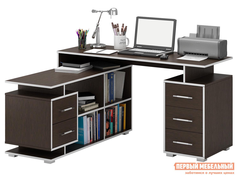 Письменный стол МФ Мастер Краст-3 Венге, Левый МФ Мастер Габаритные размеры ВхШхГ 750x1400 / 1450x1200 мм. Невероятно функциональный стол поможет грамотно организовать рабочее место, сэкономив пространство в помещении. <br>Конструкцией предусмотрены две удобные тумбы с выдвижными ящиками, а также вместительные открытые ниши для бумаг. <br>Материал изготовления — ЛДСП толщиной 16 мм. <br>Обратите внимание, перед заказом необходимо выбрать ориентацию стола. <br />В разных ориентациях некоторые габаритные размеры различаются.  Подробнее с размерами вы можете ознакомиться на схемах. <br>