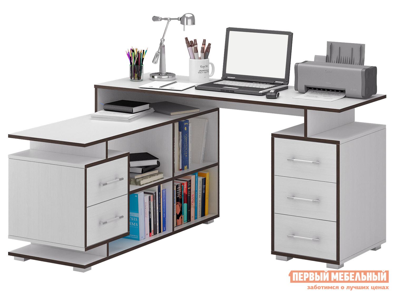 Письменный стол МФ Мастер Краст-3 Белый, Левый МФ Мастер Габаритные размеры ВхШхГ 750x1400 / 1450x1200 мм. Невероятно функциональный стол поможет грамотно организовать рабочее место, сэкономив пространство в помещении. <br>Конструкцией предусмотрены две удобные тумбы с выдвижными ящиками, а также вместительные открытые ниши для бумаг. <br>Материал изготовления — ЛДСП толщиной 16 мм. <br>Обратите внимание, перед заказом необходимо выбрать ориентацию стола. <br />В разных ориентациях некоторые габаритные размеры различаются.  Подробнее с размерами вы можете ознакомиться на схемах. <br>