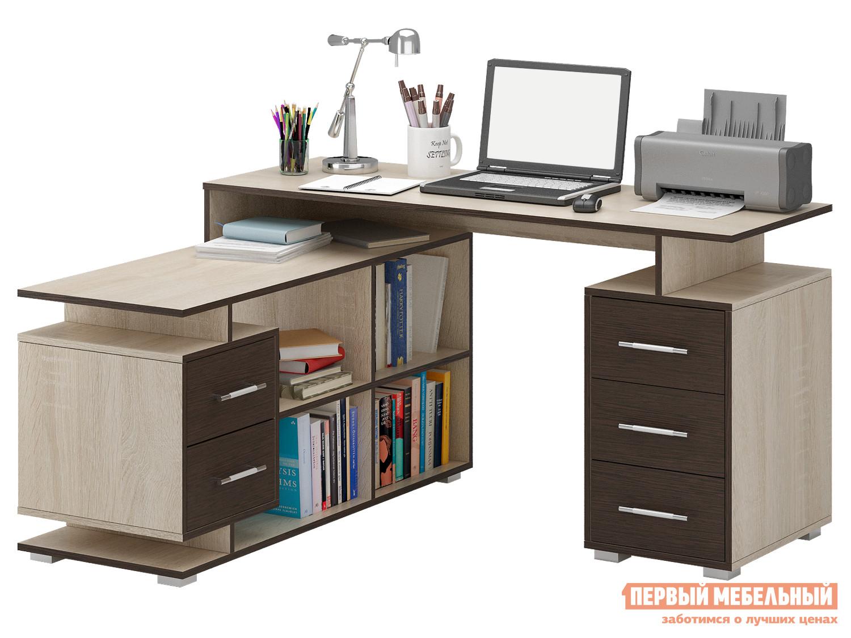 Письменный стол МФ Мастер Краст-3 Дуб Сонома / Венге, ЛевыйПисьменные столы для офиса<br>Габаритные размеры ВхШхГ 750x1400 / 1450x1200 мм. Невероятно функциональный стол поможет грамотно организовать рабочее место, сэкономив пространство в помещении. Конструкцией предусмотрены две удобные тумбы с выдвижными ящиками, а также вместительные открытые ниши для бумаг. Материал изготовления — ЛДСП толщиной 16 мм. Обратите внимание, перед заказом необходимо выбрать ориентацию стола. В разных ориентациях некоторые габаритные размеры различаются.  Подробнее с размерами вы можете ознакомиться на схемах.<br><br>Цвет: Дуб Сонома / Венге<br>Цвет: Темное-cветлое дерево<br>Высота мм: 750<br>Ширина мм: 1400 / 1450<br>Глубина мм: 1200<br>Кол-во упаковок: 4<br>Форма поставки: В разобранном виде<br>Срок гарантии: 2 года<br>Тип: Угловые<br>Материал: Деревянные, из ЛДСП<br>Размер: Большие, Ширина 140 см<br>Особенности: С ящиками, Без надстройки, С тумбой, С полками<br>Стиль: Современный, Модерн