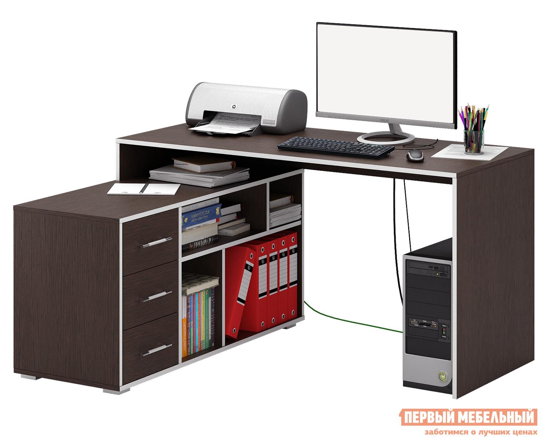 Письменный стол МФ Мастер Краст-2 Венге, ПравыйПисьменные столы для офиса<br>Габаритные размеры ВхШхГ 750x1400x1200 мм. Эргономичный, минималистичный по исполнению стол, обладающий отличным функционалом, поможет грамотно организовать рабочее место, сэкономив пространство в помещении. Конструкцией предусмотрена удобная тумба с ящиками, а также вместительные открытые ниши для бумаг, папок и прочих предметов. Материал изготовления — ЛДСП толщиной 16 мм. Обратите внимание, перед заказом необходимо выбрать ориентацию стола. В разных ориентациях некоторые габаритные размеры различаются.  Подробнее с размерами вы можете ознакомиться на схемах.<br><br>Цвет: Венге<br>Высота мм: 750<br>Ширина мм: 1400<br>Глубина мм: 1200<br>Кол-во упаковок: 3<br>Форма поставки: В разобранном виде<br>Срок гарантии: 2 года<br>Тип: Угловые<br>Материал: Дерево<br>Материал: ЛДСП<br>Размер: Большие<br>Размер: Ширина 140 см<br>С ящиками: Да<br>Без надстройки: Да<br>С тумбой: Да<br>С полками: Да<br>Стиль: Современный<br>Стиль: Модерн
