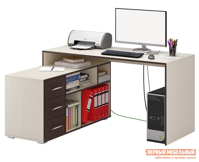 Письменный стол МФ Мастер Краст-2 Дуб Молочный / Венге, ПравыйПисьменные столы для офиса<br>Габаритные размеры ВхШхГ 750x1400x1200 мм. Эргономичный, минималистичный по исполнению стол, обладающий отличным функционалом, поможет грамотно организовать рабочее место, сэкономив пространство в помещении. Конструкцией предусмотрена удобная тумба с ящиками, а также вместительные открытые ниши для бумаг, папок и прочих предметов. Материал изготовления — ЛДСП толщиной 16 мм. Обратите внимание, перед заказом необходимо выбрать ориентацию стола. В разных ориентациях некоторые габаритные размеры различаются.  Подробнее с размерами вы можете ознакомиться на схемах.<br><br>Цвет: Темное-cветлое дерево<br>Высота мм: 750<br>Ширина мм: 1400<br>Глубина мм: 1200<br>Кол-во упаковок: 3<br>Форма поставки: В разобранном виде<br>Срок гарантии: 2 года<br>Тип: Угловые<br>Материал: Дерево<br>Материал: ЛДСП<br>Размер: Большие<br>Размер: Ширина 140 см<br>С ящиками: Да<br>Без надстройки: Да<br>С тумбой: Да<br>С полками: Да<br>Стиль: Современный<br>Стиль: Модерн