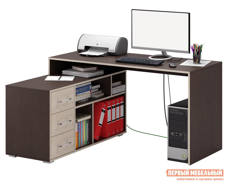 Письменный стол МФ Мастер Краст-2 Венге / Дуб Сонома, Правый МФ Мастер Габаритные размеры ВхШхГ 750x1400x1200 мм. Эргономичный, минималистичный по исполнению стол, обладающий отличным функционалом, поможет грамотно организовать рабочее место, сэкономив пространство в помещении. <br>Конструкцией предусмотрена удобная тумба с ящиками, а также вместительные открытые ниши для бумаг, папок и прочих предметов. <br>Материал изготовления — ЛДСП толщиной 16 мм. <br>Обратите внимание, перед заказом необходимо выбрать ориентацию стола. <br />В разных ориентациях некоторые габаритные размеры различаются.  Подробнее с размерами вы можете ознакомиться на схемах. <br>