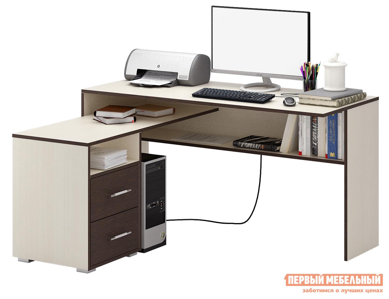 Письменный стол МФ Мастер Краст-1 Дуб Молочный / Венге, ЛевыйПисьменные столы для офиса<br>Габаритные размеры ВхШхГ 750 / 770x1400x1152 / 1180 мм. Большой и удобный стол, обладающий отличным функционалом, поможет грамотно организовать рабочее место, сэкономив пространство в помещении. Конструкцией предусмотрена удобная тумба с ящиками, а также вместительные открытые ниши для бумаг. Материал изготовления — ЛДСП толщиной 16 мм.  В ящиках используются роликовые направляющие. Обратите внимание, перед заказом необходимо выбрать ориентацию стола. В разных ориентациях некоторые габаритные размеры различаются.  Подробнее с размерами вы можете ознакомиться на схемах.<br><br>Цвет: Темное-cветлое дерево<br>Высота мм: 750 / 770<br>Ширина мм: 1400<br>Глубина мм: 1152 / 1180<br>Кол-во упаковок: 3<br>Форма поставки: В разобранном виде<br>Срок гарантии: 2 года<br>Тип: Угловые<br>Материал: Дерево<br>Материал: ЛДСП<br>Размер: Большие<br>Размер: Ширина 140 см<br>С ящиками: Да<br>Без надстройки: Да<br>С тумбой: Да<br>С полками: Да<br>Стиль: Современный<br>Стиль: Модерн