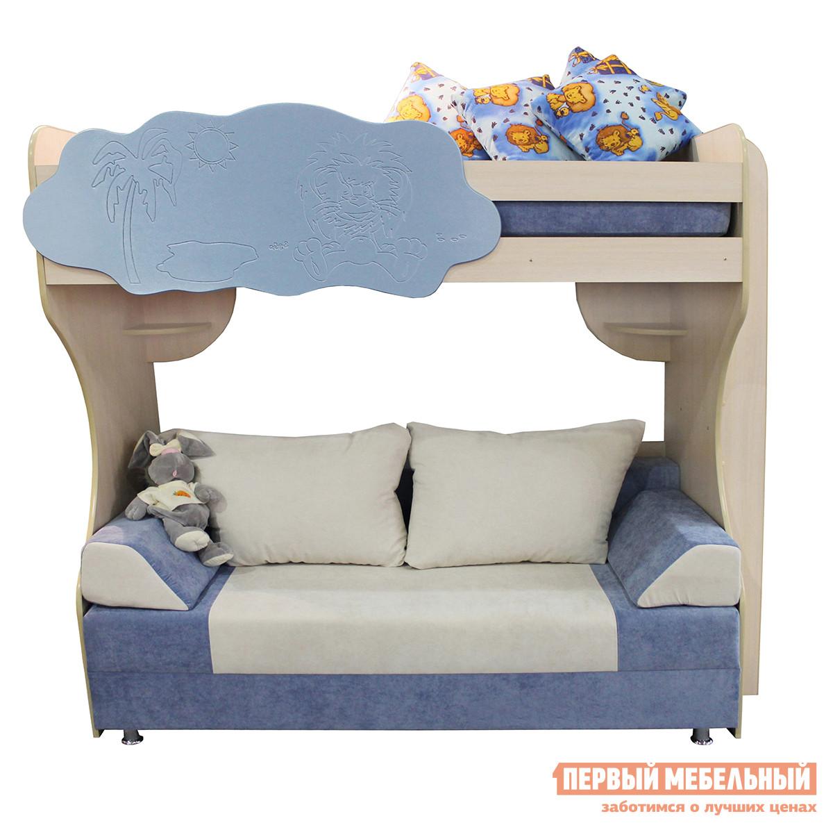 Детская двухъярусная кровать-чердак с диваном внизу Мебель-Холдинг Двухъярусная кровать с диваном Еврокнижка детская мебель