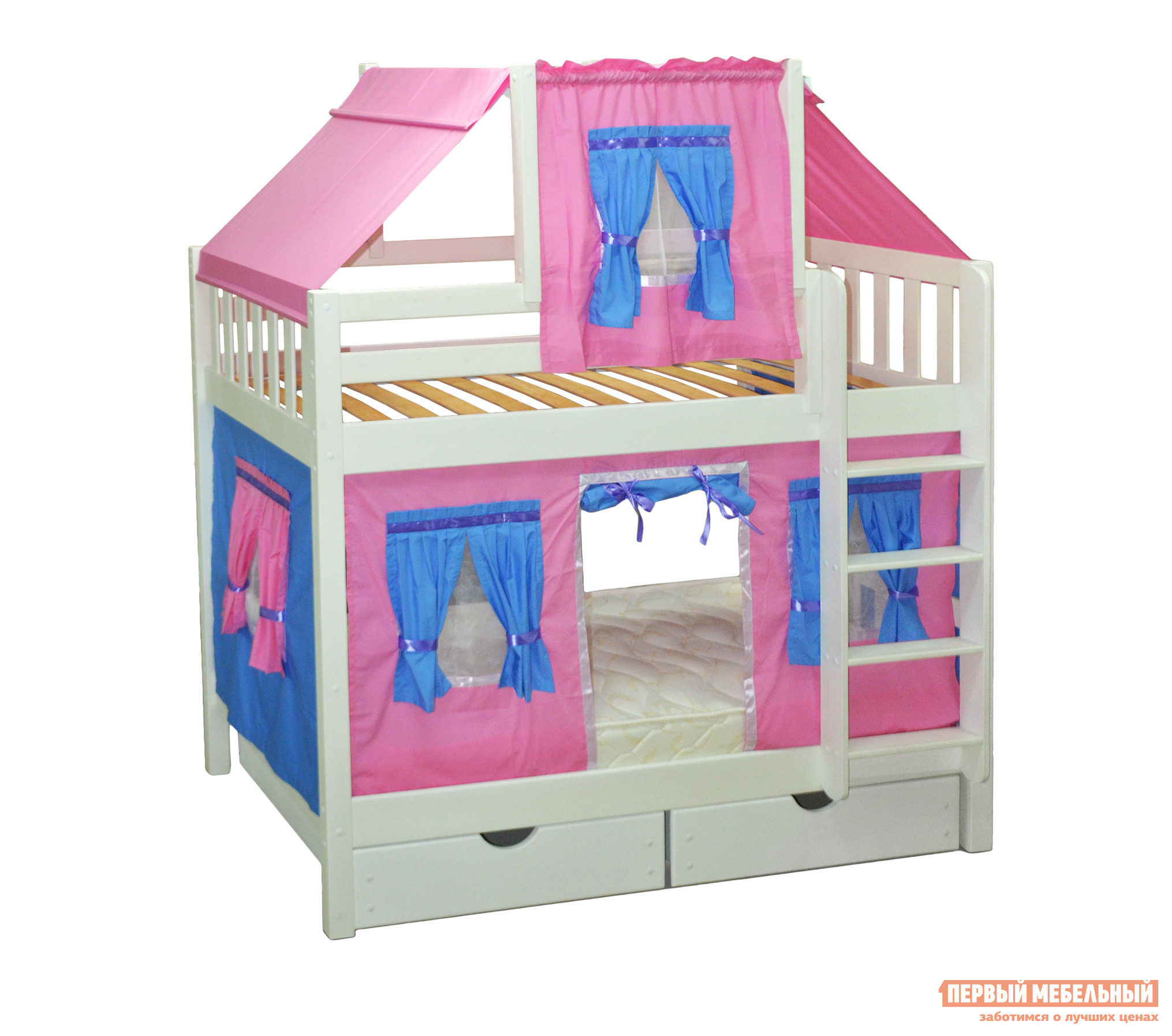 Двухъярусная кровать-домик для детей Мебель-Холдинг Скворушка