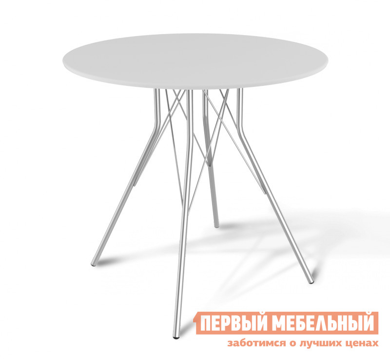 Кухонный стол Sheffilton SHT-ТU2 + SHT-TT 80 МДФ Белый / Хром лак
