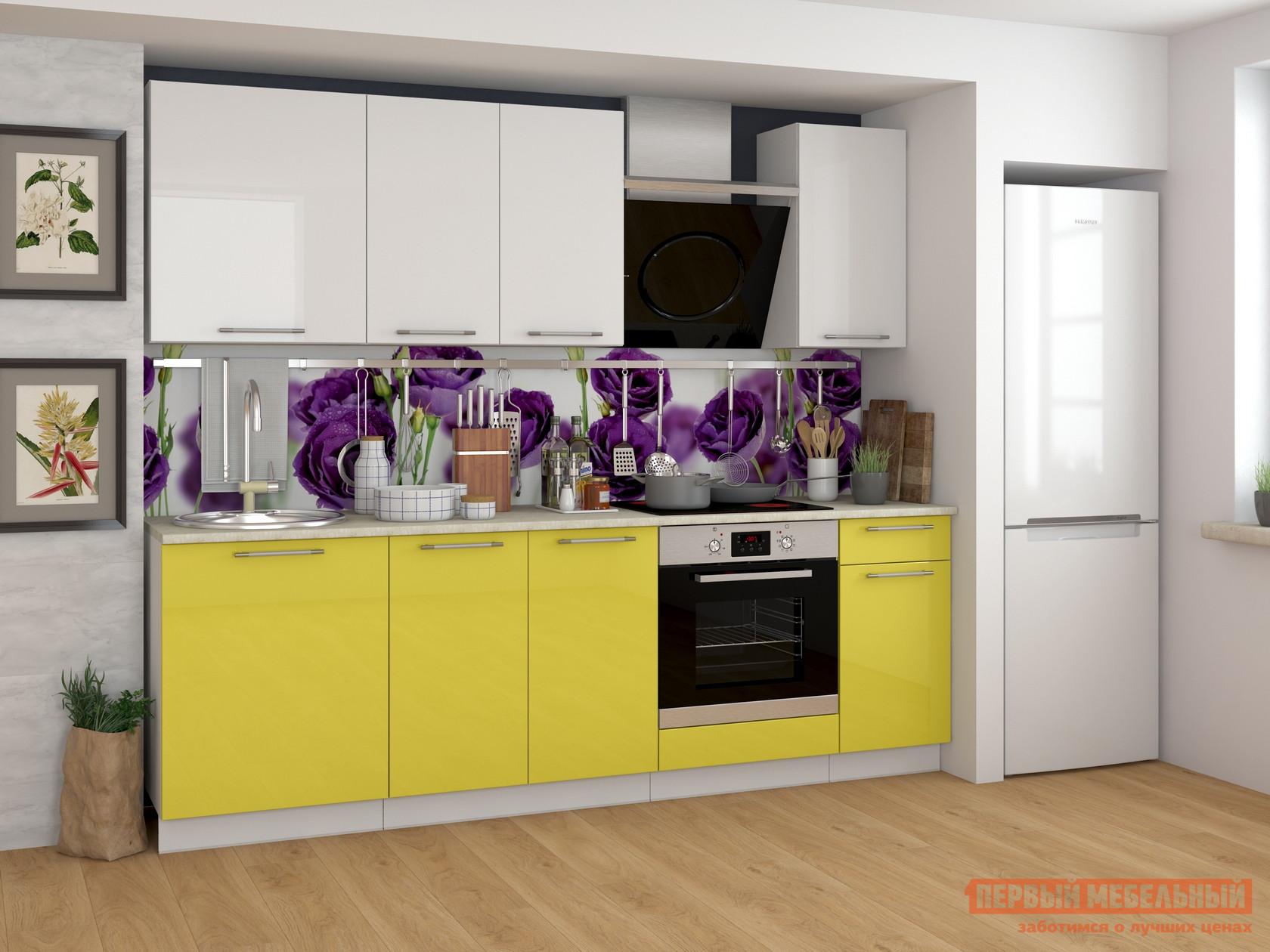 Фото Кухонный гарнитур Мебель Плюс Ректа 2,4 Груша-белый глянец