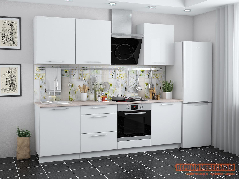 Фото Кухонный гарнитур Мебель Плюс Ректа 2,4 Белый глянец
