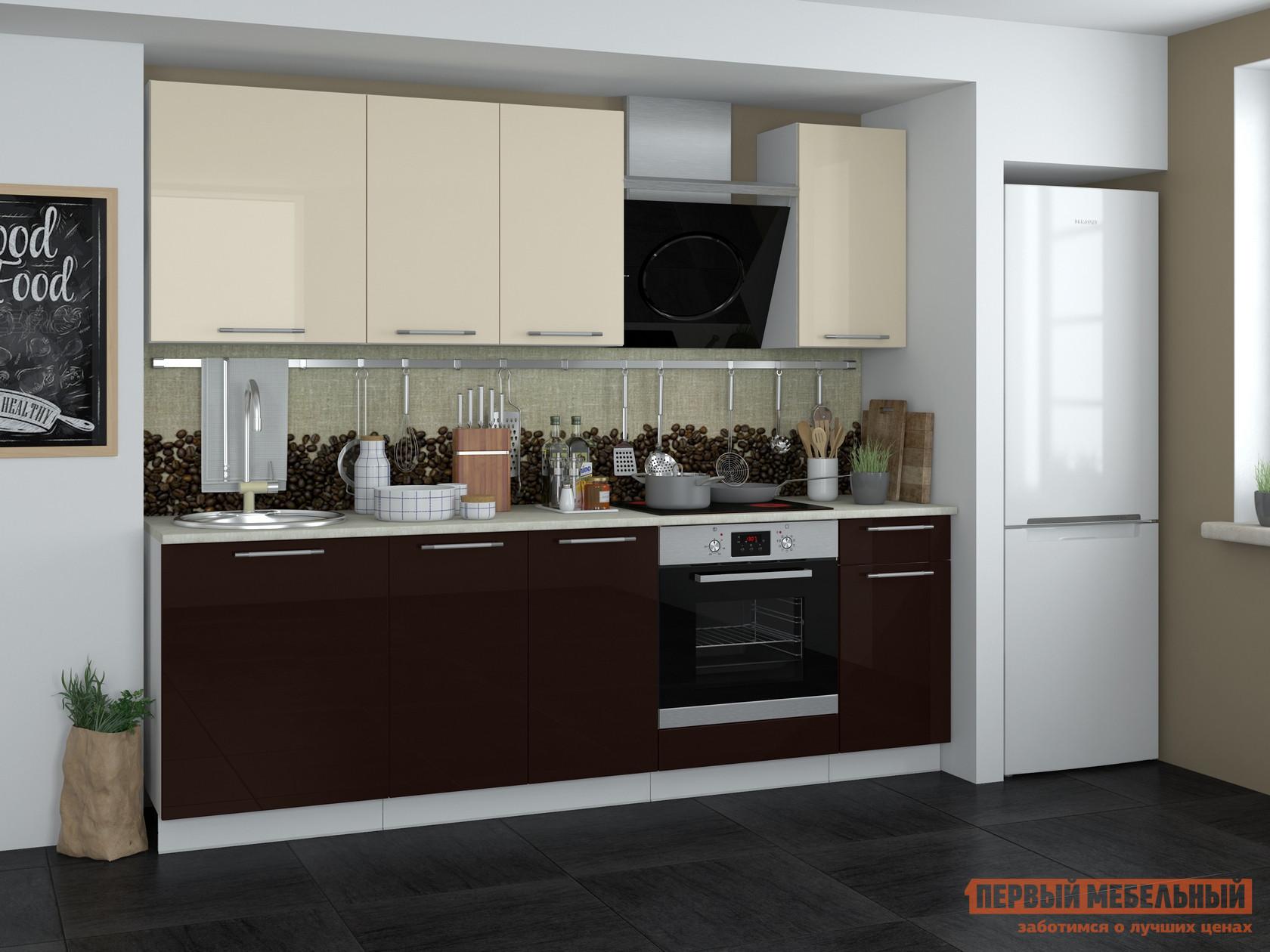 Кухонный гарнитур Мебель Плюс Кремона 2,4 Кофе-ваниль глянец кухонный гарнитур трия фэнтези 120 см