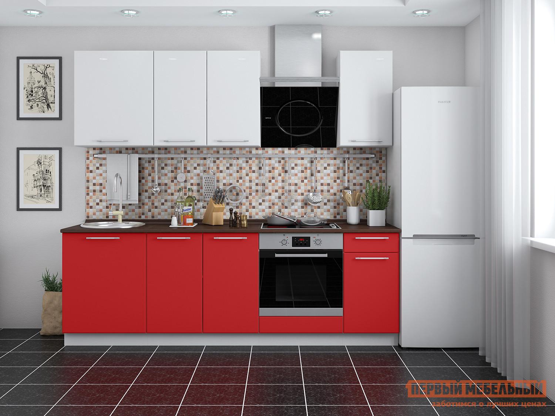 Фото Кухонный гарнитур Мебель Плюс Ректа 2,4 Красный-белый глянец
