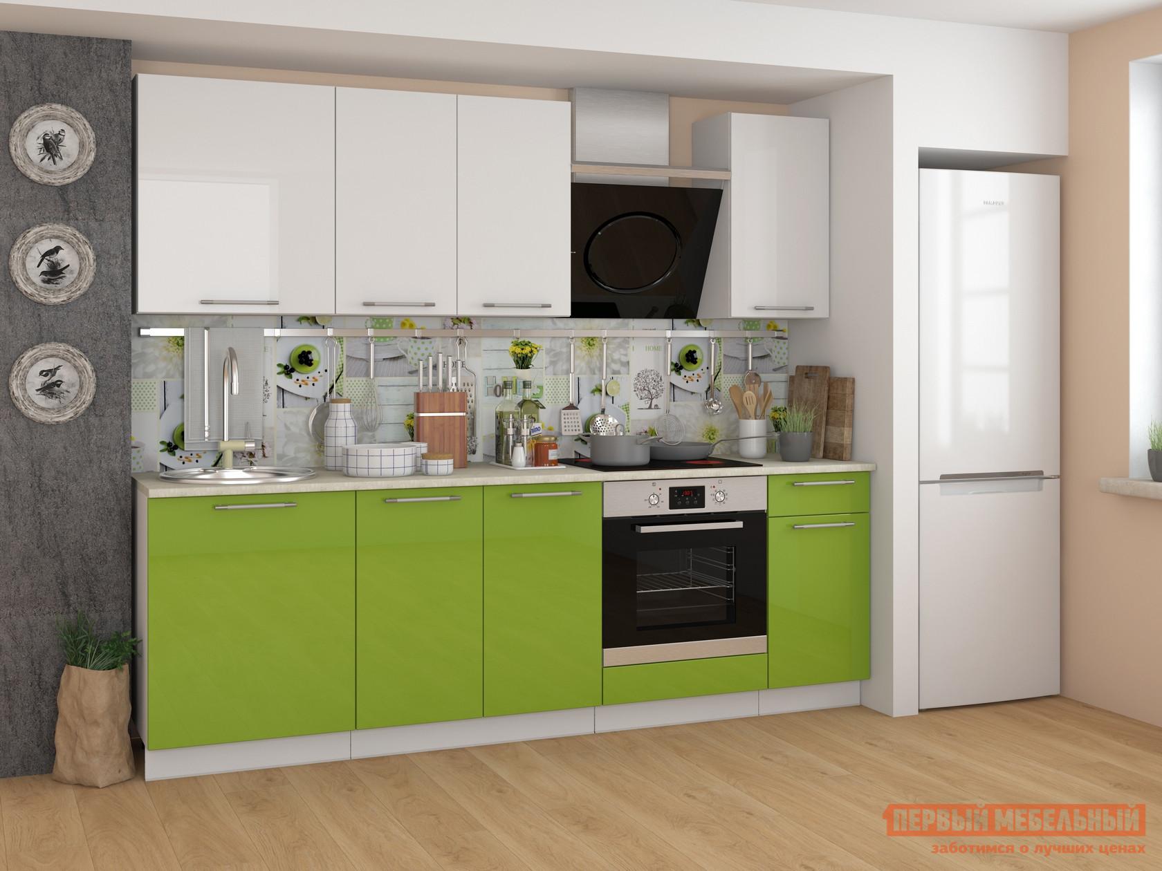 Фото Кухонный гарнитур Мебель Плюс Ректа 2.4 Эвкалипт-белый глянец