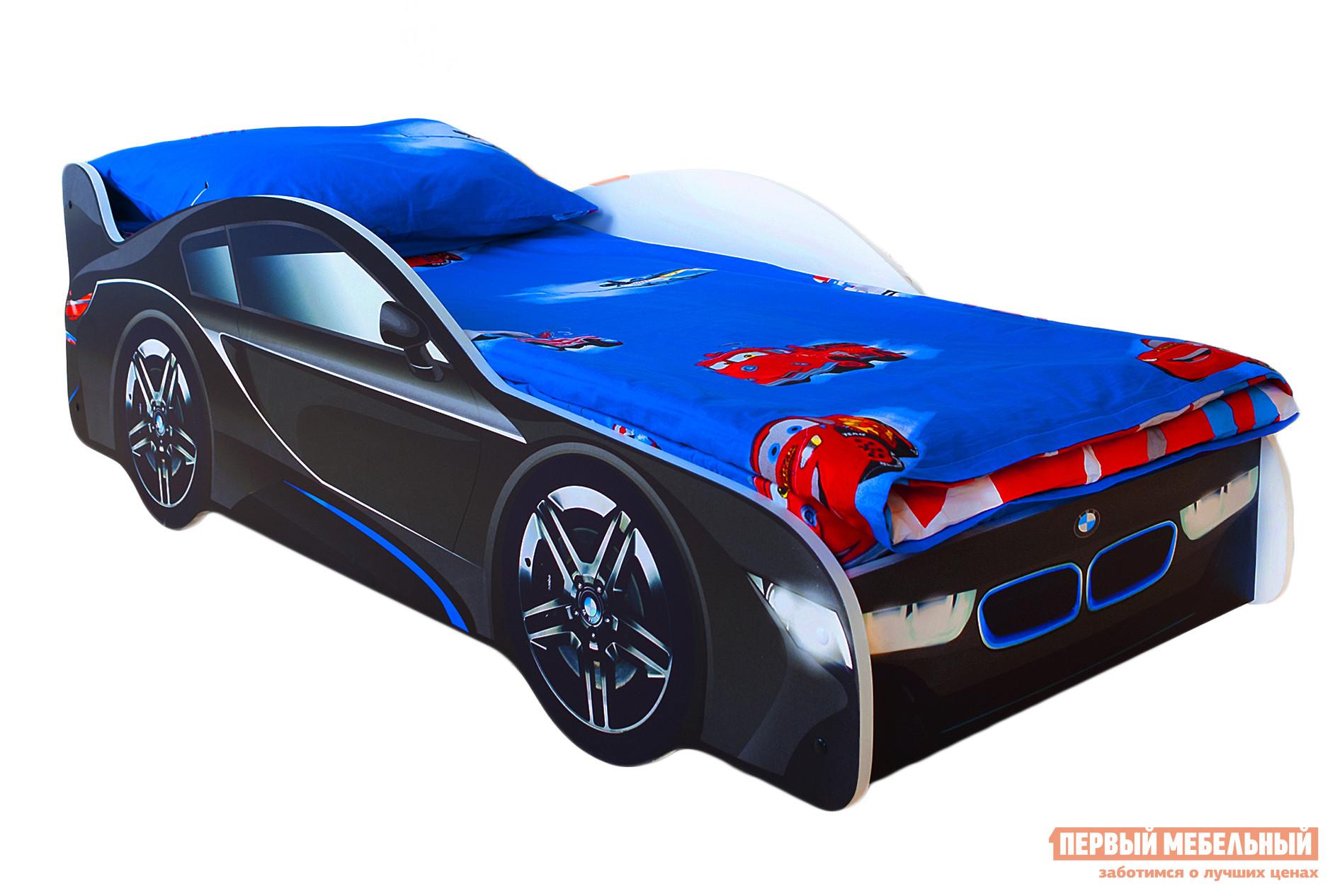 Кровать-машина Бельмарко БМВ Черный, Без матрасаКровати-машины<br>Габаритные размеры ВхШхГ 500x750x1700 мм. Кроватка, исполненная в виде роскошного спортивного автомобиля, перенесет вашего ребенка в мир скорости и веселья. Размер спального места составляет 700х1600 мм. Боковые линии кровати позволяют взрослому удобно сидеть, пока ребенок засыпает, при этом малыш никогда не упадет во сне. Модель очень легко собирается в течении 10 минут. Основание под матрас — деревянные прочные латы, выдерживающие нагрузку до 200 кг.  Латы позволяют матрасу «дышать», если он намокнет — достаточно его перевернуть и он высохнет. Материал изготовления — ЛДСП класса E1 с прямой ультрафиолетовой печатью, что обеспечивает долговечность и безопасность в эксплуатации. Обратите внимание! Необходимо выбрать комплектацию: с матрасом или без. Также вы можете дополнительно заказать светодиодную подсветку дна кровати и пластиковые объемные колеса, с которыми вы можете более подробно ознакомиться во вкладке «Аксессуары».<br><br>Цвет: Черный<br>Цвет: Черный<br>Высота мм: 500<br>Ширина мм: 750<br>Глубина мм: 1700<br>Кол-во упаковок: 2<br>Форма поставки: В разобранном виде<br>Срок гарантии: 1 год<br>Материал: Деревянные, из ЛДСП<br>Особенности: С бортиками, С колесами, С матрасом, С подсветкой<br>Возраст: От 3-х лет<br>Модель: БМВ, Гонка<br>Пол: Для мальчиков