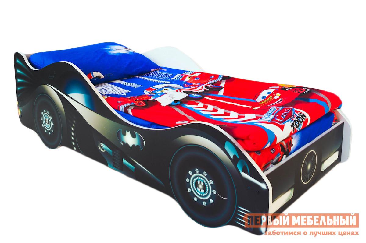 Кровать-машина Бельмарко Бэтмобиль Черный, С матрасомКровати-машины<br>Габаритные размеры ВхШхГ 500x750x1700 мм. Если ваш ребенок мечтает стать настоящим супергероем — ему просто необходим такой спутник в мир фантазий. Размер спального места составляет 700х1600 мм. Боковые линии кровати позволяют взрослому удобно сидеть, пока ребенок засыпает, при этом малыш никогда не упадет во сне. Модель очень легко собирается в течении 10 минут. Основание под матрас — деревянные прочные латы, выдерживающие нагрузку до 200 кг.  Латы позволяют матрасу «дышать», если он намокнет — достаточно его перевернуть и он высохнет. Материал изготовления — ЛДСП класса E1 с прямой ультрафиолетовой печатью, что обеспечивает долговечность и безопасность в эксплуатации. Обратите внимание! Необходимо выбрать комплектацию: с матрасом или без. Также вы можете дополнительно заказать светодиодную подсветку дна кровати и пластиковые объемные колеса, с которыми вы можете более подробно ознакомиться во вкладке «Аксессуары».<br><br>Цвет: Черный<br>Высота мм: 500<br>Ширина мм: 750<br>Глубина мм: 1700<br>Кол-во упаковок: 2<br>Форма поставки: В разобранном виде<br>Срок гарантии: 1 год<br>Материал: Дерево<br>Материал: ЛДСП<br>С бортиками: Да<br>С колесами: Да<br>С матрасом: Да<br>С подсветкой: Да<br>Возраст: От 3-х лет<br>Модель: Гонка<br>Пол: Для мальчиков