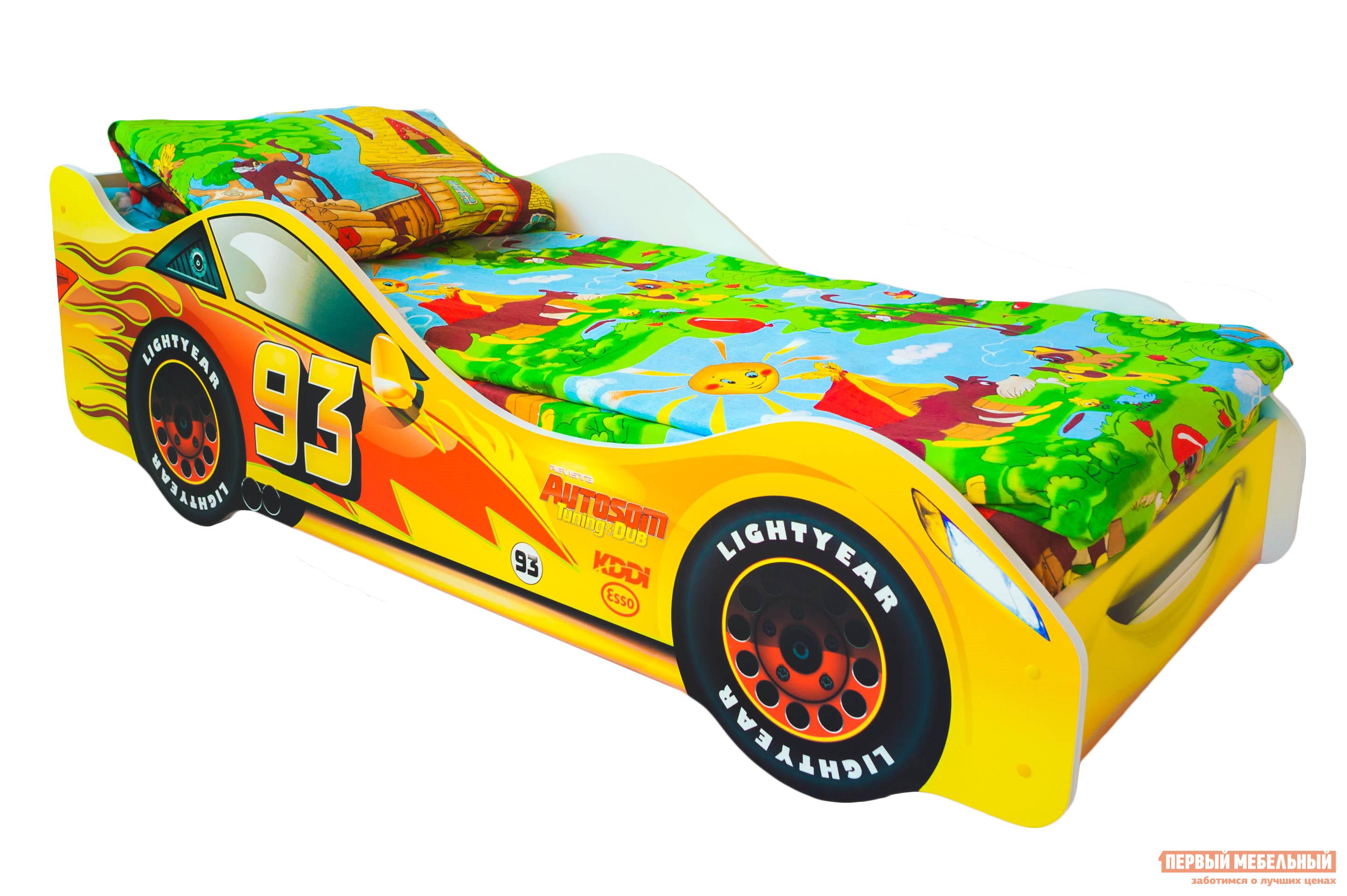 Кровать-машина Бельмарко Тачка Желтый, Без матрасаКровати-машины<br>Габаритные размеры ВхШхГ 500x750x1700 мм. Кроватка, исполненная в виде задорного автомобиля, станет настоящим другом вашего ребенка. Размер спального места составляет 700х1600 мм. Боковые линии кровати позволяют взрослому удобно сидеть, пока ребенок засыпает, при этом малыш никогда не упадет во сне. Модель очень легко собирается в течении 10 минут. Основание под матрас — деревянные прочные латы, выдерживающие нагрузку до 200 кг.  Латы позволяют матрасу «дышать», если он намокнет — достаточно его перевернуть и он высохнет. Материал изготовления — ЛДСП класса E1 с прямой ультрафиолетовой печатью, что обеспечивает долговечность и безопасность в эксплуатации. Обратите внимание! Необходимо выбрать комплектацию: с матрасом или без. Также вы можете дополнительно заказать светодиодную подсветку дна кровати и пластиковые объемные колеса, с которыми вы можете более подробно ознакомиться во вкладке «Аксессуары».<br><br>Цвет: Желтый<br>Цвет: Желтый<br>Высота мм: 500<br>Ширина мм: 750<br>Глубина мм: 1700<br>Кол-во упаковок: 2<br>Форма поставки: В разобранном виде<br>Срок гарантии: 1 год<br>Материал: Деревянные, из ЛДСП<br>Особенности: С бортиками, С колесами, С матрасом, С подсветкой<br>Возраст: От 3-х лет<br>Модель: Гонка<br>Пол: Для мальчиков