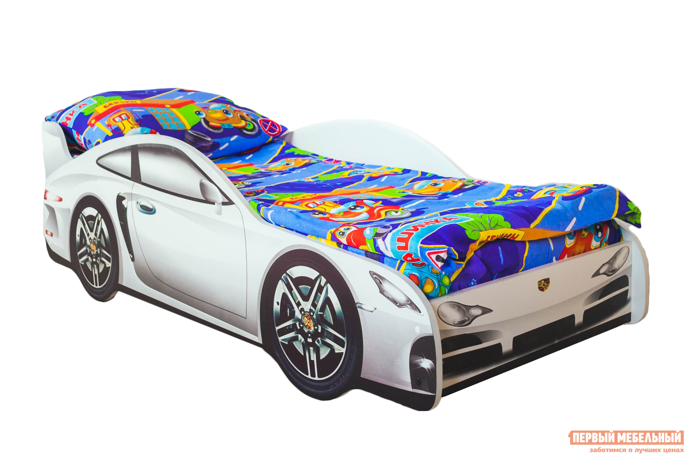 Кровать-машина Бельмарко Порше Белый, Без матрасаКровати-машины<br>Габаритные размеры ВхШхГ 500x750x1700 мм. Кроватка, исполненная в виде роскошного автомобиля, перенесет вашего ребенка в мир скорости и веселья. Размер спального места составляет 700х1600 мм. Боковые линии кровати позволяют взрослому удобно сидеть, пока ребенок засыпает, при этом малыш никогда не упадет во сне. Модель очень легко собирается в течении 10 минут. Основание под матрас — деревянные прочные латы, выдерживающие нагрузку до 200 кг.  Латы позволяют матрасу «дышать», если он намокнет — достаточно его перевернуть и он высохнет. Материал изготовления — ЛДСП класса E1 с прямой ультрафиолетовой печатью, что обеспечивает долговечность и безопасность в эксплуатации. Обратите внимание! Необходимо выбрать комплектацию: с матрасом или без. Также вы можете дополнительно заказать светодиодную подсветку дна кровати и пластиковые объемные колеса, с которыми вы можете более подробно ознакомиться во вкладке «Аксессуары».<br><br>Цвет: Белый<br>Цвет: Белый<br>Высота мм: 500<br>Ширина мм: 750<br>Глубина мм: 1700<br>Кол-во упаковок: 2<br>Форма поставки: В разобранном виде<br>Срок гарантии: 1 год<br>Материал: Деревянные, из ЛДСП<br>Особенности: С бортиками, С колесами, С матрасом, С подсветкой<br>Возраст: От 3-х лет<br>Модель: Гонка<br>Пол: Для девочек, Для мальчиков