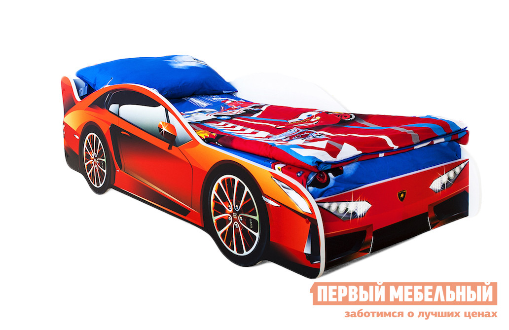 Кровать-машина Бельмарко Ламборджини Оранжевый, Без матрасаКровати-машины<br>Габаритные размеры ВхШхГ 500x750x1700 мм. Яркая и неординарная кровать-машина станет верным спутником в мир путешествий по снам. Размер спального места составляет 700х1600 мм. Боковые линии кровати позволяют взрослому удобно сидеть, пока ребенок засыпает, при этом малыш никогда не упадет во сне. Модель очень легко собирается в течении 10 минут. Основание под матрас — деревянные прочные латы, выдерживающие нагрузку до 200 кг.  Латы позволяют матрасу «дышать», если он намокнет — достаточно его перевернуть и он высохнет. Материал изготовления — ЛДСП класса E1 с прямой ультрафиолетовой печатью, что обеспечивает долговечность и безопасность в эксплуатации. Обратите внимание! Необходимо выбрать комплектацию: с матрасом или без. Также вы можете дополнительно заказать светодиодную подсветку дна кровати и пластиковые объемные колеса, с которыми вы можете более подробно ознакомиться во вкладке «Аксессуары».<br><br>Цвет: Оранжевый<br>Высота мм: 500<br>Ширина мм: 750<br>Глубина мм: 1700<br>Кол-во упаковок: 2<br>Форма поставки: В разобранном виде<br>Срок гарантии: 1 год<br>Материал: Дерево<br>Материал: ЛДСП<br>С бортиками: Да<br>С колесами: Да<br>С матрасом: Да<br>С подсветкой: Да<br>Возраст: От 3-х лет<br>Модель: Гонка<br>Пол: Для девочек<br>Пол: Для мальчиков