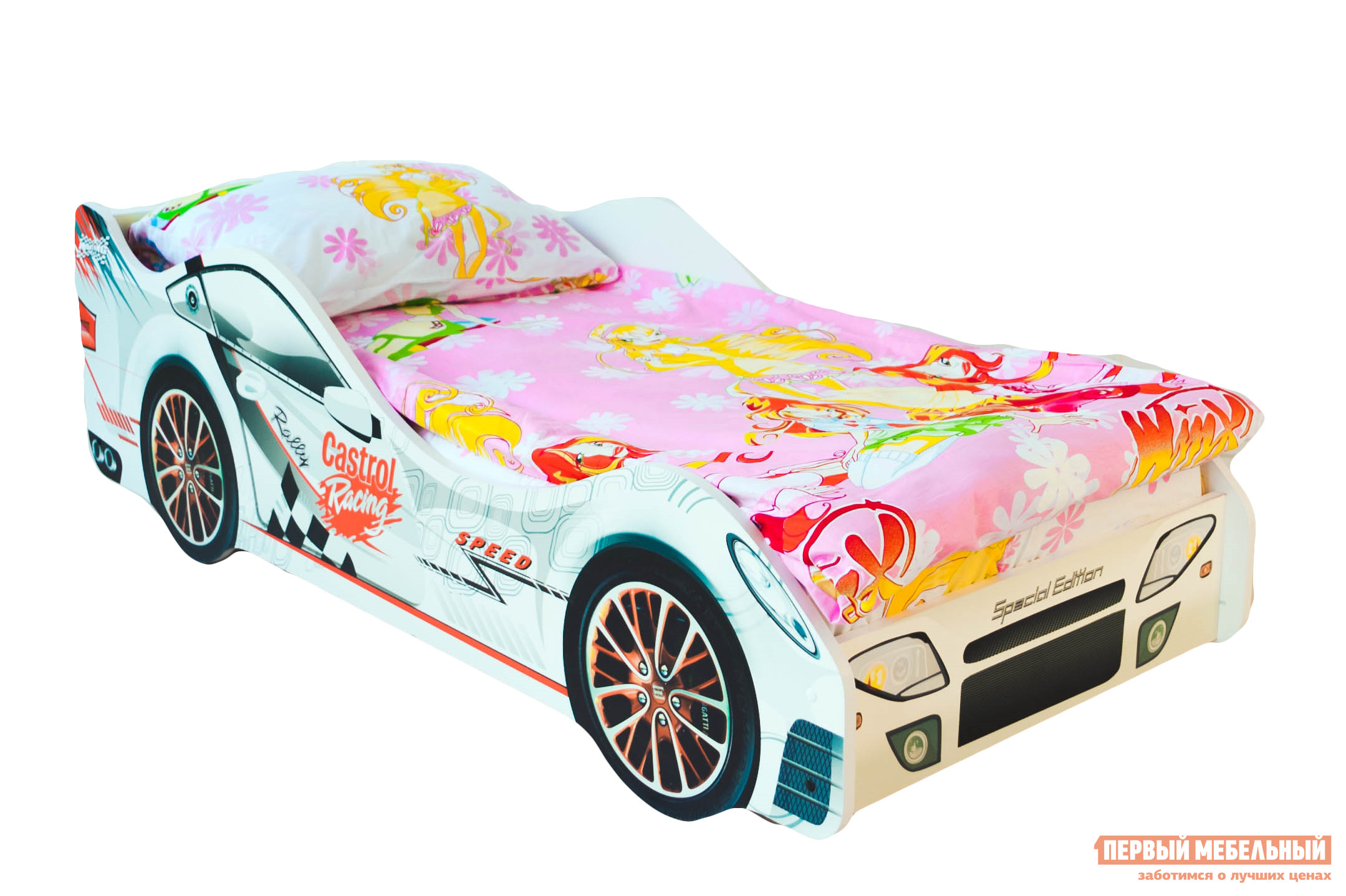 Кровать-машина Бельмарко Безмятежность Белый, С матрасомКровати-машины<br>Габаритные размеры ВхШхГ 500x750x1700 мм. Яркий гоночный болид станет лучшим проводником в веселые сны. Размер спального места составляет 700х1600 мм. Боковые линии кровати позволяют взрослому удобно сидеть, пока ребенок засыпает, при этом малыш никогда не упадет во сне. Модель очень легко собирается в течении 10 минут. Основание под матрас — деревянные прочные латы, выдерживающие нагрузку до 200 кг.  Латы позволяют матрасу «дышать», если он намокнет — достаточно его перевернуть и он высохнет. Материал изготовления — ЛДСП класса E1 с прямой ультрафиолетовой печатью, что обеспечивает долговечность и безопасность в эксплуатации. Обратите внимание! Необходимо выбрать комплектацию: с матрасом или без. Также вы можете дополнительно заказать светодиодную подсветку дна кровати и пластиковые объемные колеса, с которыми вы можете более подробно ознакомиться во вкладке «Аксессуары».<br><br>Цвет: Белый<br>Высота мм: 500<br>Ширина мм: 750<br>Глубина мм: 1700<br>Кол-во упаковок: 2<br>Форма поставки: В разобранном виде<br>Срок гарантии: 1 год<br>Материал: Дерево<br>Материал: ЛДСП<br>С бортиками: Да<br>С колесами: Да<br>С матрасом: Да<br>С подсветкой: Да<br>Возраст: От 3-х лет<br>Модель: Гонка<br>Пол: Для девочек<br>Пол: Для мальчиков