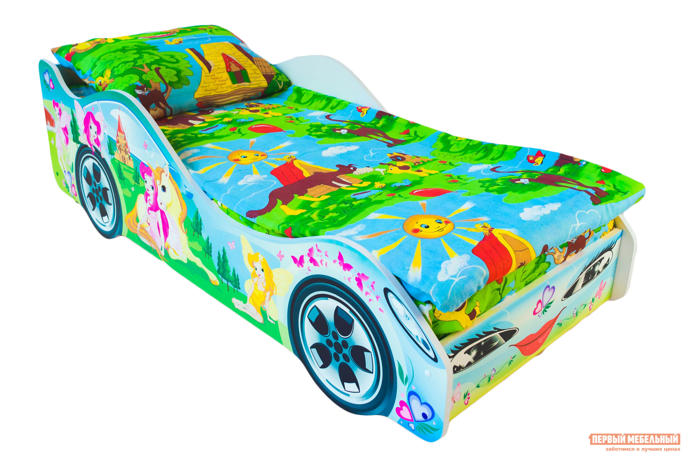 Кровать-машина Бельмарко Принцесса Салатовый, С матрасомКровати-машины<br>Габаритные размеры ВхШхГ 500x750x1700 мм. Кроватка, исполненная в виде автомобиля с ярким принтом не оставит равнодушной ни одну принцессу. Размер спального места составляет 700х1600 мм. Боковые линии кровати позволяют взрослому удобно сидеть, пока ребенок засыпает, при этом малыш никогда не упадет во сне. Модель очень легко собирается в течении 10 минут. Основание под матрас — деревянные прочные латы, выдерживающие нагрузку до 200 кг.  Латы позволяют матрасу «дышать», если он намокнет — достаточно его перевернуть и он высохнет. Материал изготовления — ЛДСП класса E1 с прямой ультрафиолетовой печатью, что обеспечивает долговечность и безопасность в эксплуатации. Обратите внимание! Необходимо выбрать комплектацию: с матрасом или без. Также вы можете дополнительно заказать светодиодную подсветку дна кровати и пластиковые объемные колеса, с которыми вы можете более подробно ознакомиться во вкладке «Аксессуары».<br><br>Цвет: Салатовый<br>Цвет: Зеленый<br>Высота мм: 500<br>Ширина мм: 750<br>Глубина мм: 1700<br>Кол-во упаковок: 2<br>Форма поставки: В разобранном виде<br>Срок гарантии: 1 год<br>Материал: Деревянные, из ЛДСП<br>Особенности: С бортиками, С колесами, С матрасом, С подсветкой<br>Возраст: От 3-х лет<br>Пол: Для девочек
