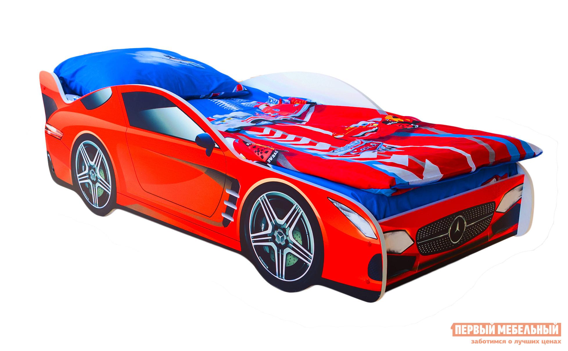 Кровать-машина Бельмарко Мерседес Красный, Без матрасаКровати-машины<br>Габаритные размеры ВхШхГ 500x750x1700 мм. Кроватка, исполненная в виде роскошного автомобиля-купе, перенесет вашего ребенка в мир скорости и веселья. Размер спального места составляет 700х1600 мм. Боковые линии кровати позволяют взрослому удобно сидеть, пока ребенок засыпает, при этом малыш никогда не упадет во сне. Модель очень легко собирается в течении 10 минут. Основание под матрас — деревянные прочные латы, выдерживающие нагрузку до 200 кг.  Латы позволяют матрасу «дышать», если он намокнет — достаточно его перевернуть и он высохнет. Материал изготовления — ЛДСП класса E1 с прямой ультрафиолетовой печатью, что обеспечивает долговечность и безопасность в эксплуатации. Обратите внимание! Необходимо выбрать комплектацию: с матрасом или без. Также вы можете дополнительно заказать светодиодную подсветку дна кровати и пластиковые объемные колеса, с которыми вы можете более подробно ознакомиться во вкладке «Аксессуары».<br><br>Цвет: Красный<br>Высота мм: 500<br>Ширина мм: 750<br>Глубина мм: 1700<br>Кол-во упаковок: 2<br>Форма поставки: В разобранном виде<br>Срок гарантии: 1 год<br>Материал: Дерево<br>Материал: ЛДСП<br>С бортиками: Да<br>С колесами: Да<br>С матрасом: Да<br>С подсветкой: Да<br>Возраст: От 3-х лет<br>Модель: Гонка<br>Модель: Мерседес<br>Пол: Для мальчиков