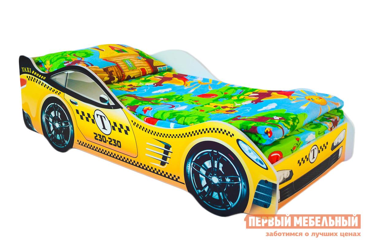 Кровать-машина Бельмарко Такси Желтый, Без матрасаКровати-машины<br>Габаритные размеры ВхШхГ 500x750x1700 мм. В такой кроватке будет не только комфортно спать, но и весело играть в таксиста в волшебной стране грез. Размер спального места составляет 700х1600 мм. Боковые линии кровати позволяют взрослому удобно сидеть, пока ребенок засыпает, при этом малыш никогда не упадет во сне. Модель очень легко собирается в течении 10 минут. Основание под матрас — деревянные прочные латы, выдерживающие нагрузку до 200 кг.  Латы позволяют матрасу «дышать», если он намокнет — достаточно его перевернуть и он высохнет. Материал изготовления — ЛДСП класса E1 с прямой ультрафиолетовой печатью, что обеспечивает долговечность и безопасность в эксплуатации. Обратите внимание! Необходимо выбрать комплектацию: с матрасом или без. Также вы можете дополнительно заказать светодиодную подсветку дна кровати и пластиковые объемные колеса, с которыми вы можете более подробно ознакомиться во вкладке «Аксессуары».<br><br>Цвет: Желтый<br>Высота мм: 500<br>Ширина мм: 750<br>Глубина мм: 1700<br>Кол-во упаковок: 2<br>Форма поставки: В разобранном виде<br>Срок гарантии: 1 год<br>Материал: Дерево<br>Материал: ЛДСП<br>С бортиками: Да<br>С колесами: Да<br>С матрасом: Да<br>С подсветкой: Да<br>Возраст: От 3-х лет<br>Пол: Для мальчиков