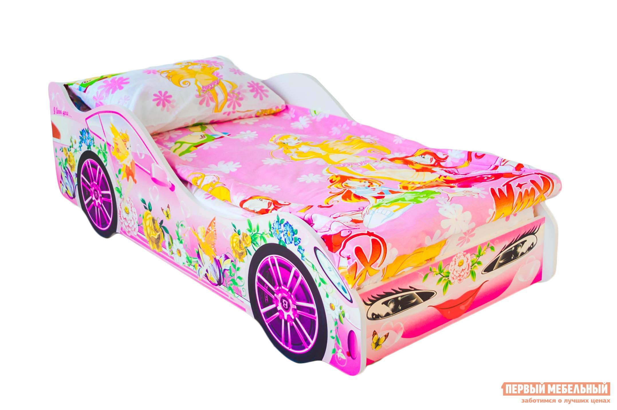 Кровать-машина Бельмарко Фея Розовый, Без матрасаКровати-машины<br>Габаритные размеры ВхШхГ 500x750x1700 мм. Яркая кроватка с нежным оформлением настроит на улыбку и крепкий сон даже самую капризную принцессу. Размер спального места составляет 700х1600 мм. Боковые линии кровати позволяют взрослому удобно сидеть, пока ребенок засыпает, при этом ребенок малыш не упадет во сне. Модель очень легко собирается в течении 10 минут. Основание под матрас — деревянные прочные латы, выдерживающие нагрузку до 200 кг.  Латы позволяют матрасу «дышать», если он намокнет — достаточно его перевернуть и он высохнет. Материал изготовления — ЛДСП класса E1 с прямой ультрафиолетовой печатью, что обеспечивает долговечность и безопасность в эксплуатации. Обратите внимание! Необходимо выбрать комплектацию: с матрасом или без. Также вы можете дополнительно заказать светодиодную подсветку дна кровати и пластиковые объемные колеса, с которыми вы можете более подробно ознакомиться во вкладке «Аксессуары».<br><br>Цвет: Розовый<br>Цвет: Розовый<br>Высота мм: 500<br>Ширина мм: 750<br>Глубина мм: 1700<br>Кол-во упаковок: 2<br>Форма поставки: В разобранном виде<br>Срок гарантии: 1 год<br>Материал: Деревянные, из ЛДСП<br>Особенности: С бортиками, С колесами, С матрасом, С подсветкой<br>Возраст: От 3-х лет<br>Пол: Для девочек