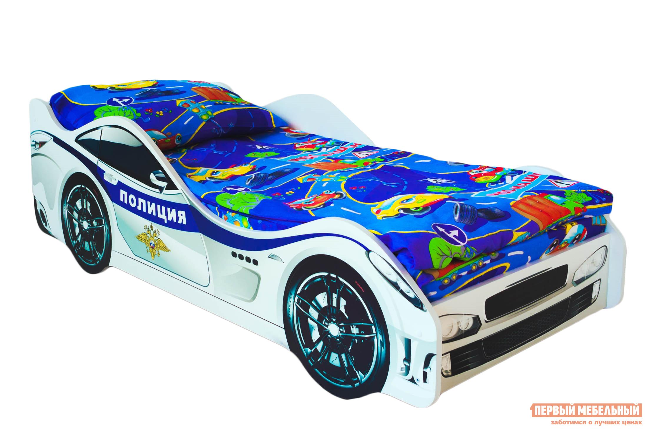 Кровать-машина Бельмарко Полиция Белый, Без матраса