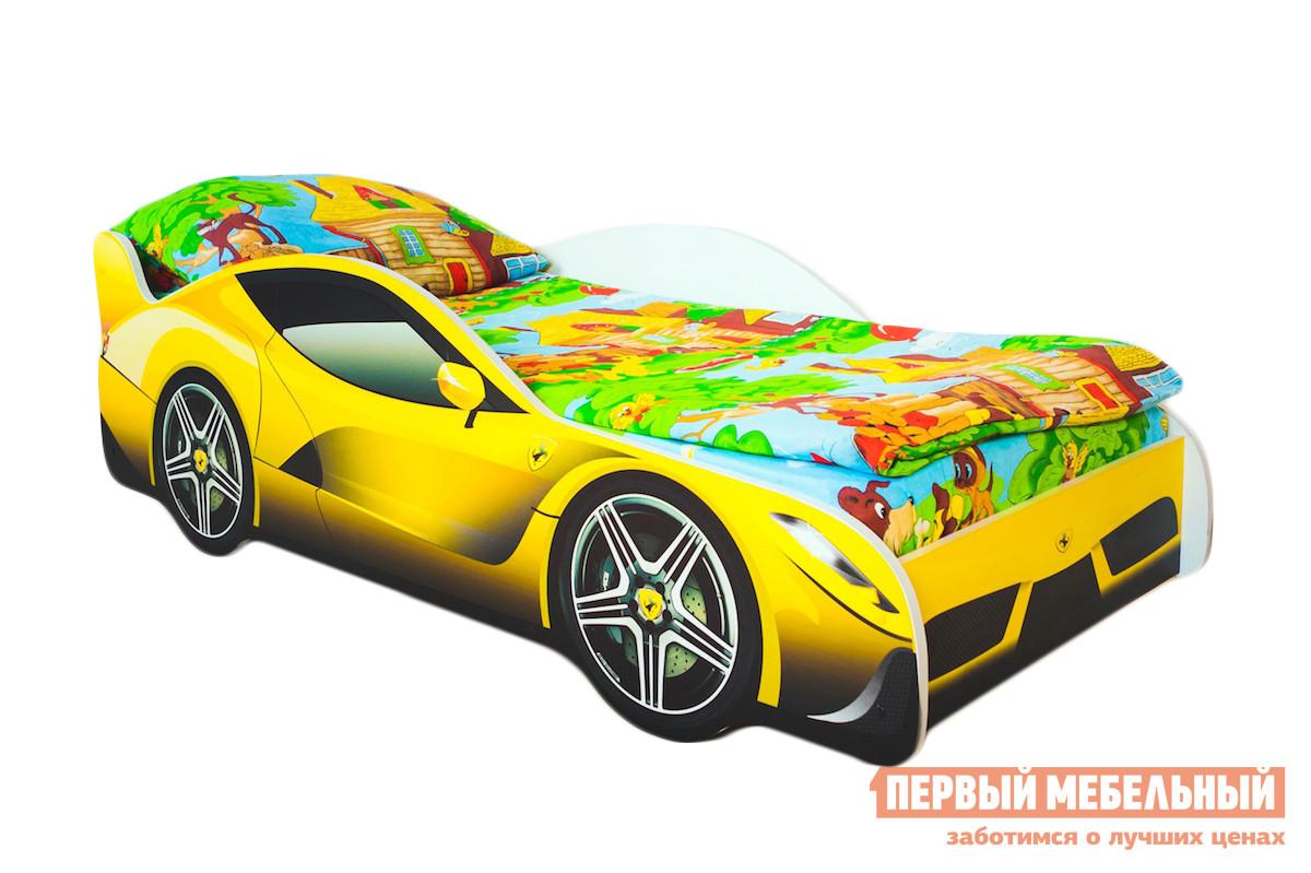 Кровать-машина Бельмарко Феррари Желтый, С матрасом